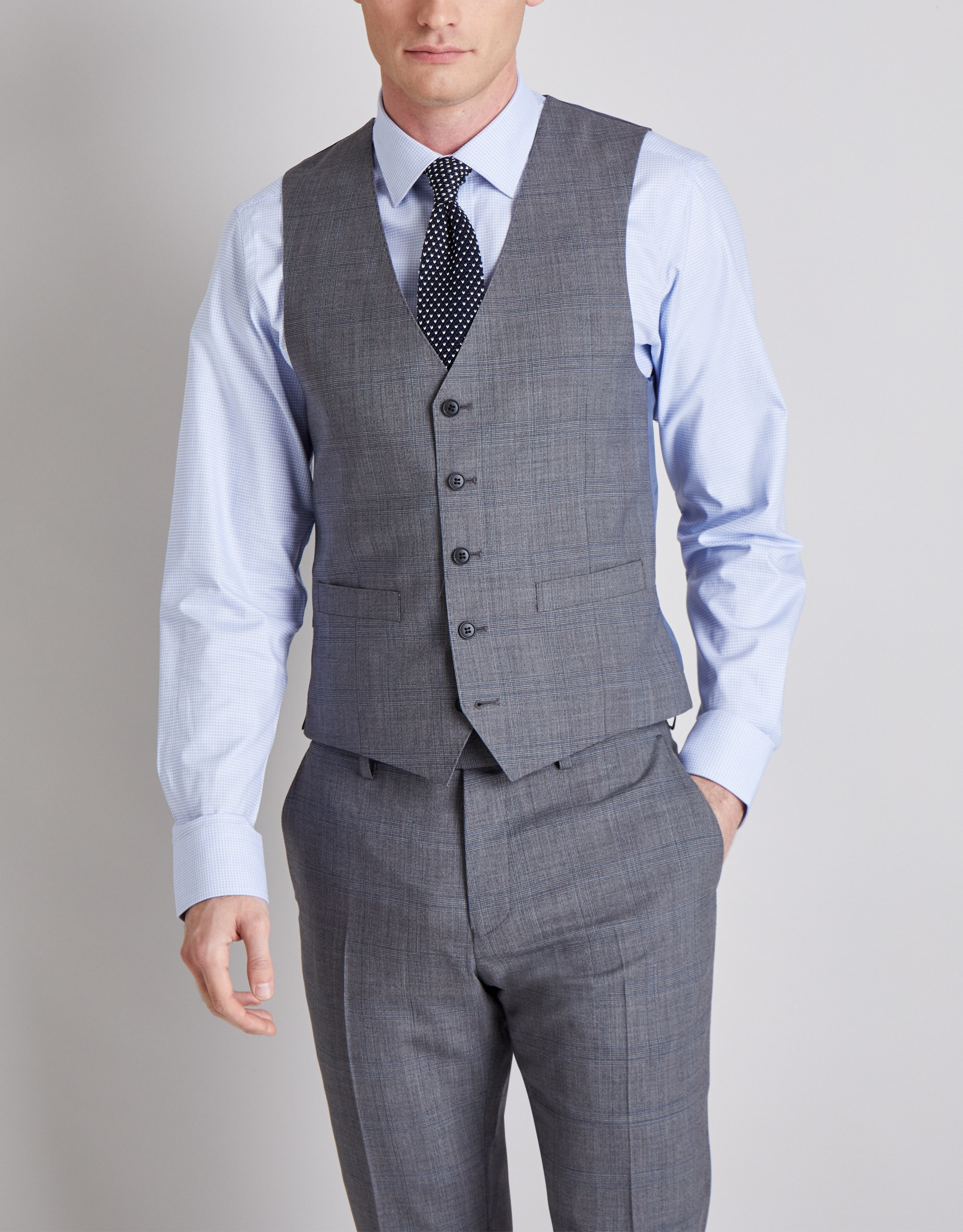 Moss Bros Moss 1851 Tailored fit Grey with Blue Check Waistcoat