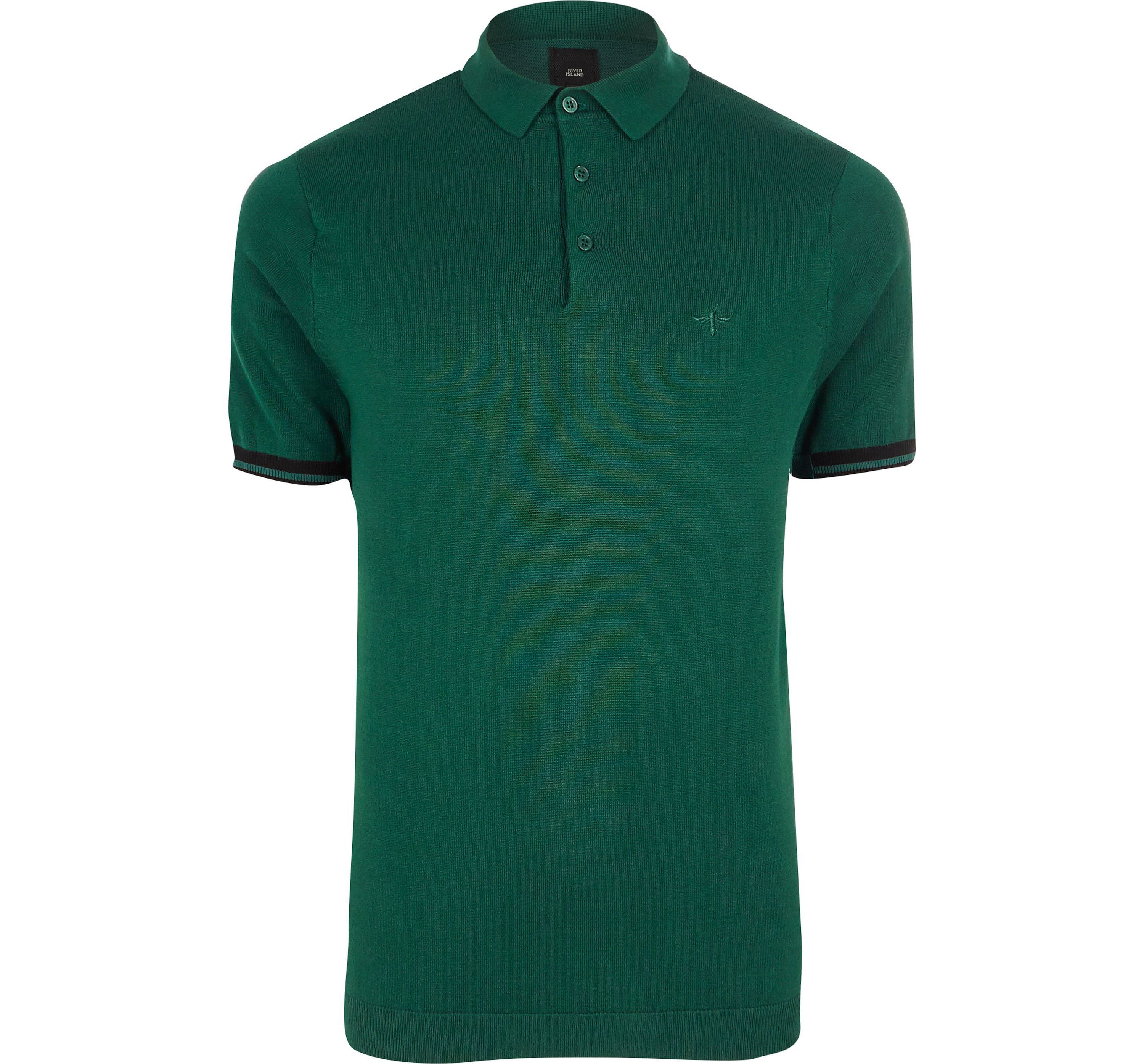 River Island Mens Big and Tall Green knitted polo shirt