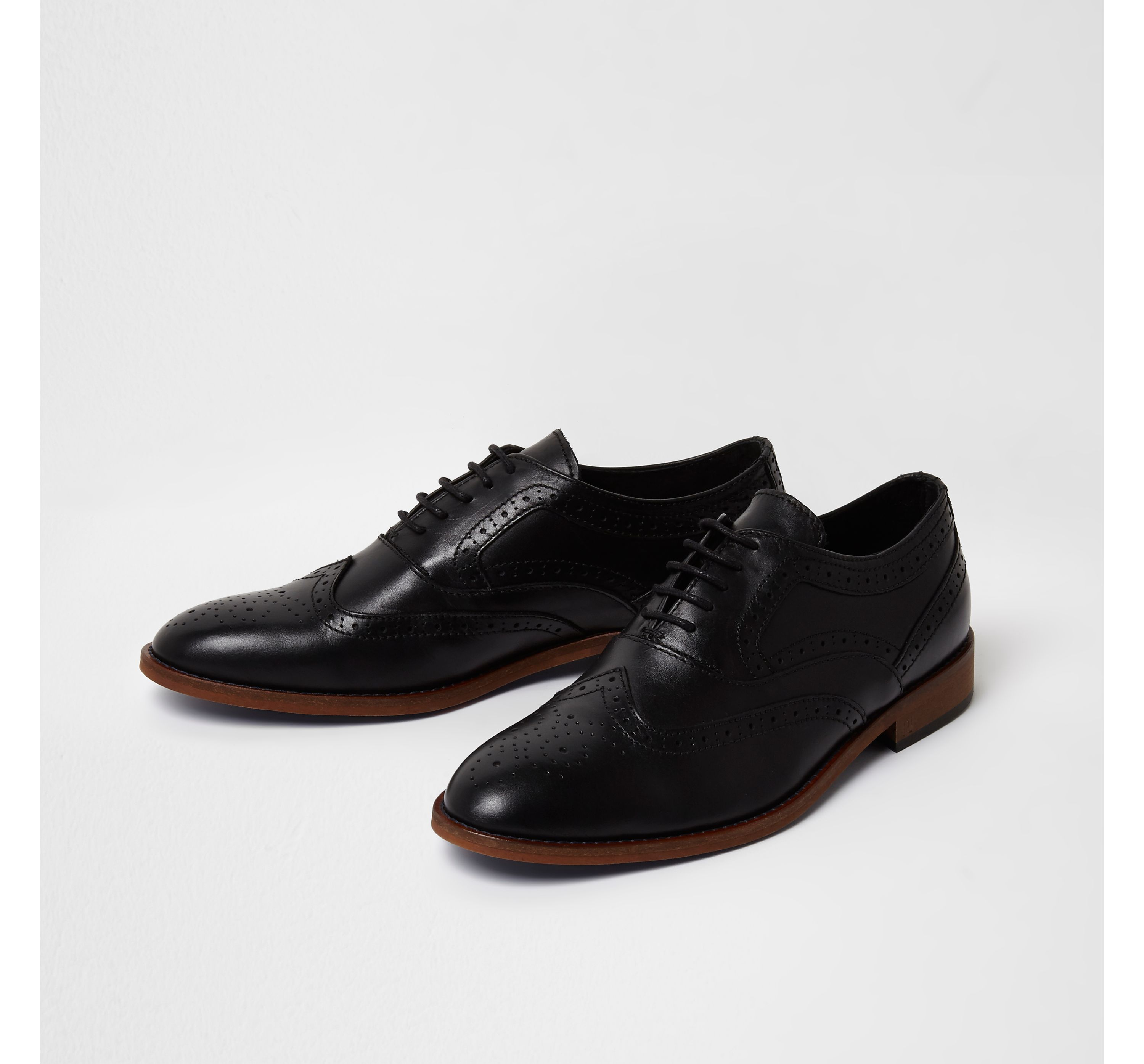 River Island Mens Black leather lace-up brogue oxford shoes