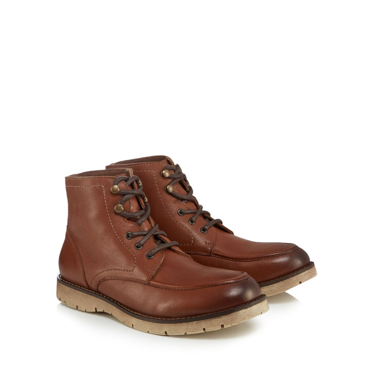 Mantaray Tan leather 'Minsk' lace up boots