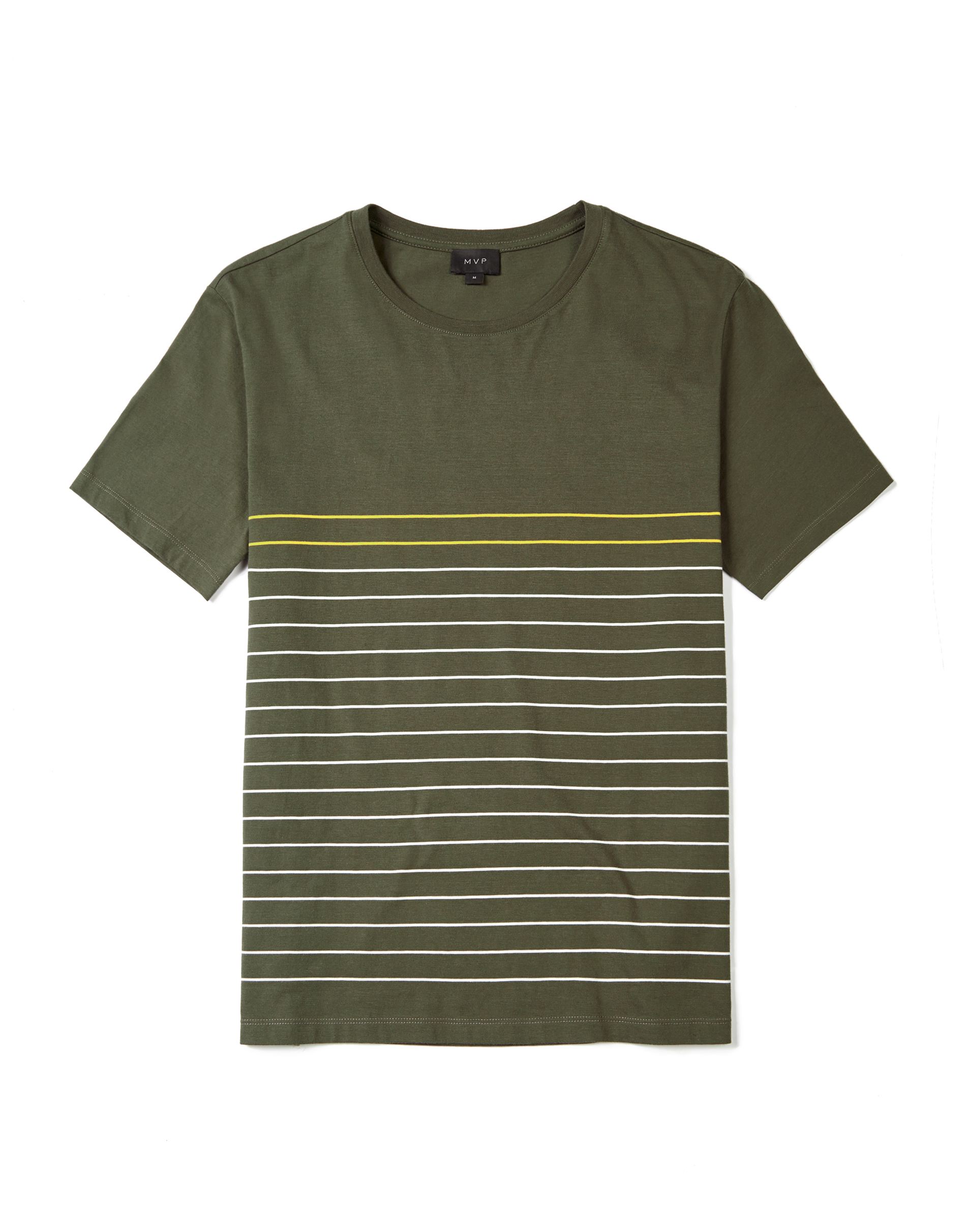 MVP MOSS GREEN Alvington Thin Stripe Crew Neck T-Shirt