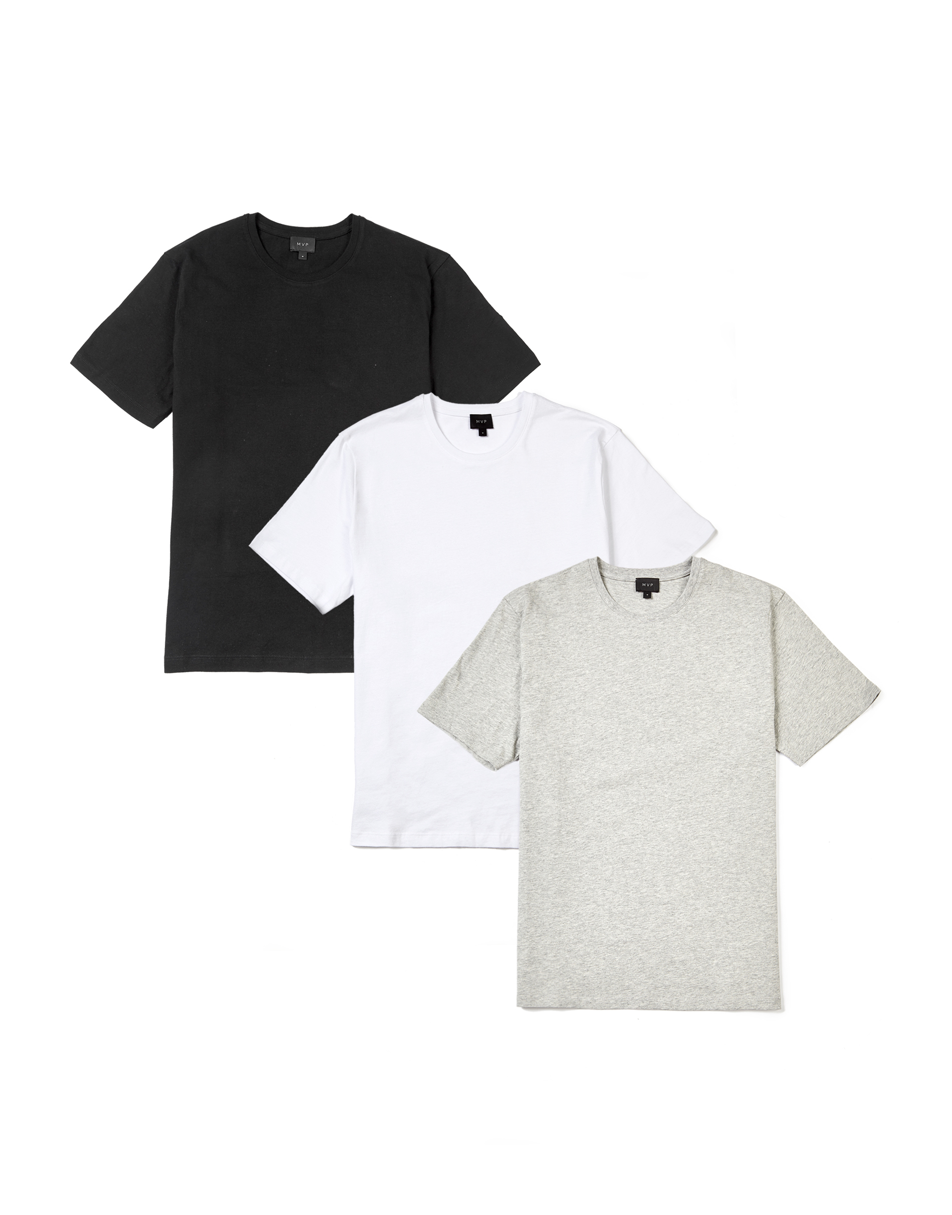 MVP WHITE + GREY MEL + BLACK 3-Pack of Ashfield Crew Neck T-shirt - White + Grey Melange + Black