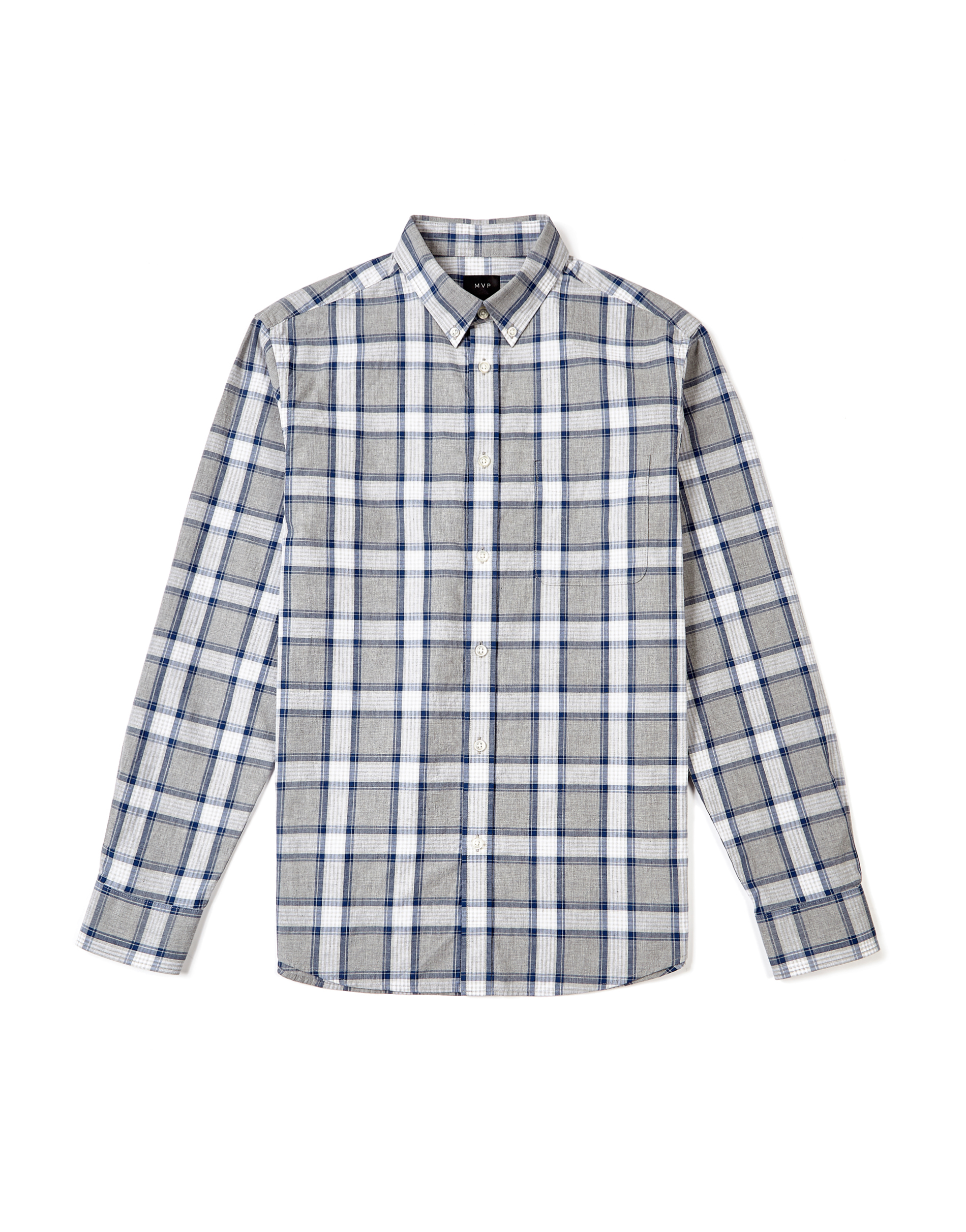 MVP Brierly Poplin Mid Scale Check Shirt - Grey