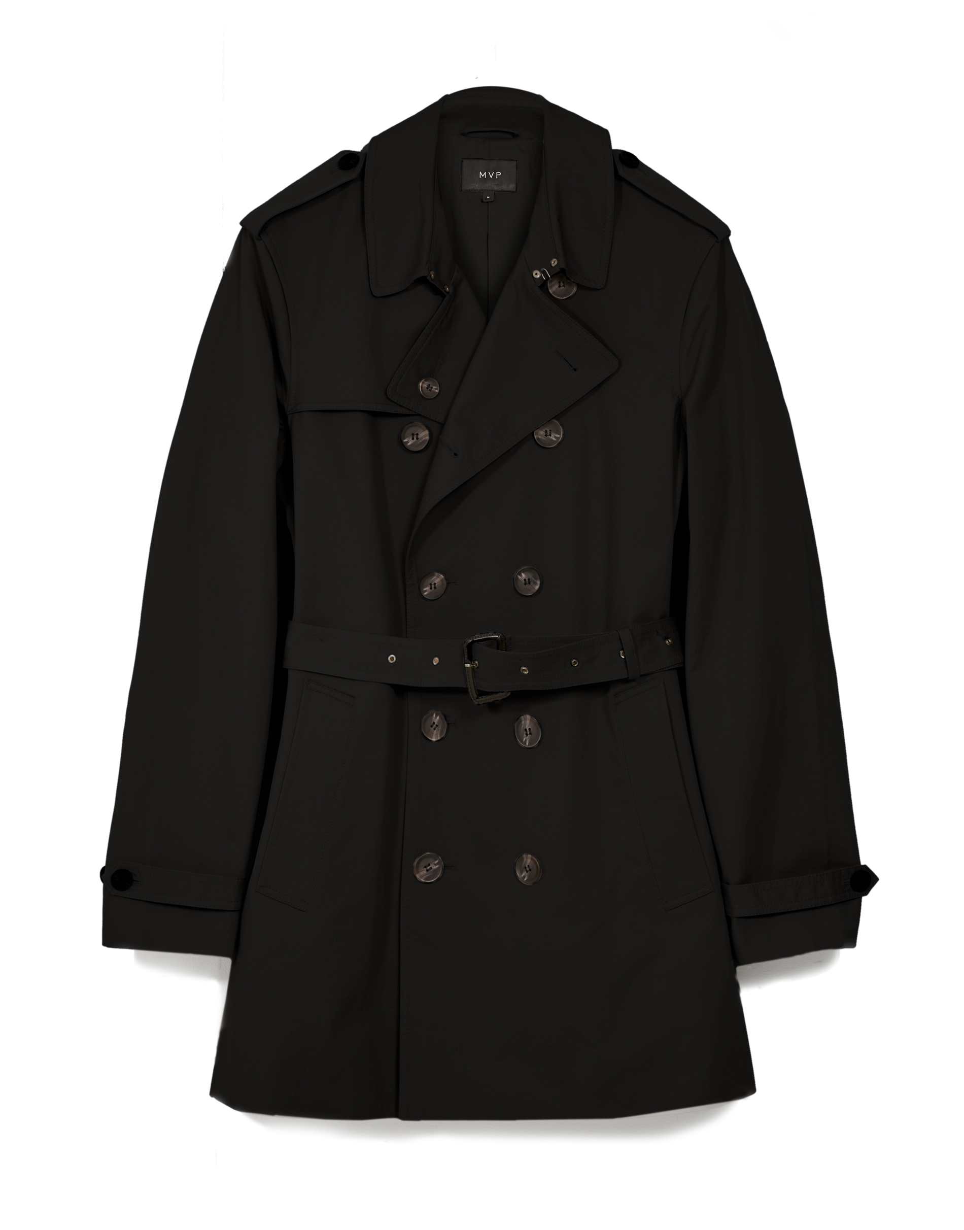 MVP BLACK Fleet Double Breasted Cotton Trench Coat