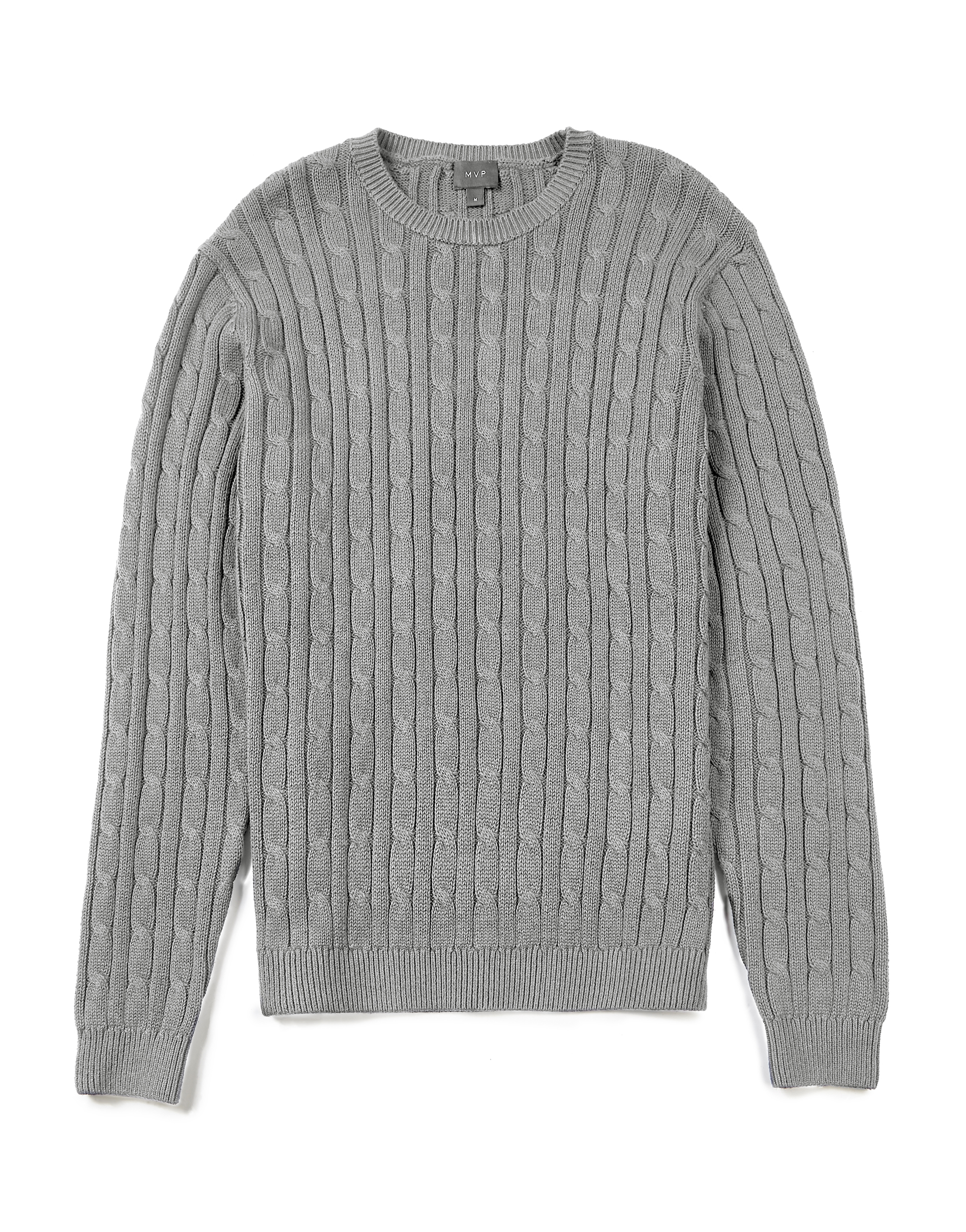 MVP GREY MELANGE Hainton Cotton Cable Knit Jumper
