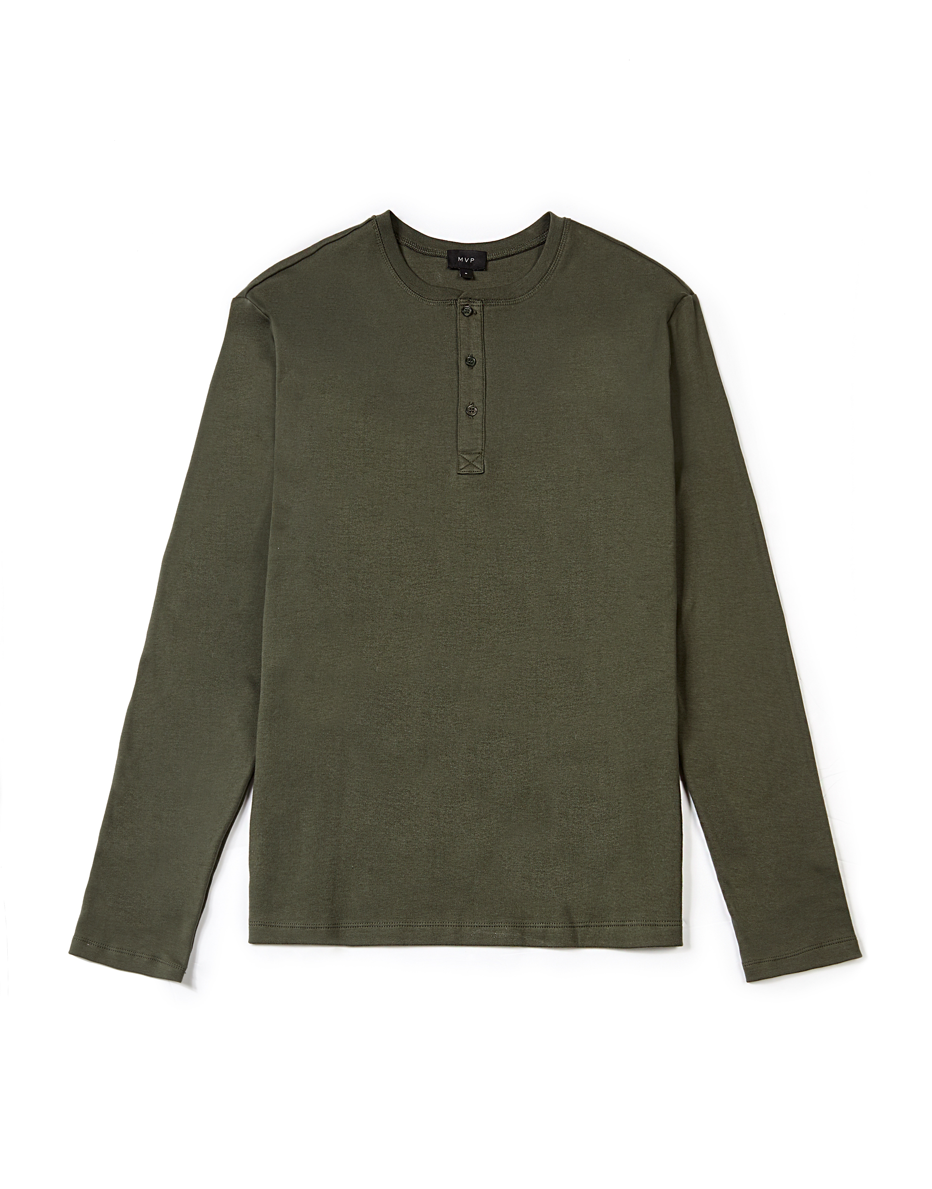MVP MOSS GREEN Romford Cotton Henley Top