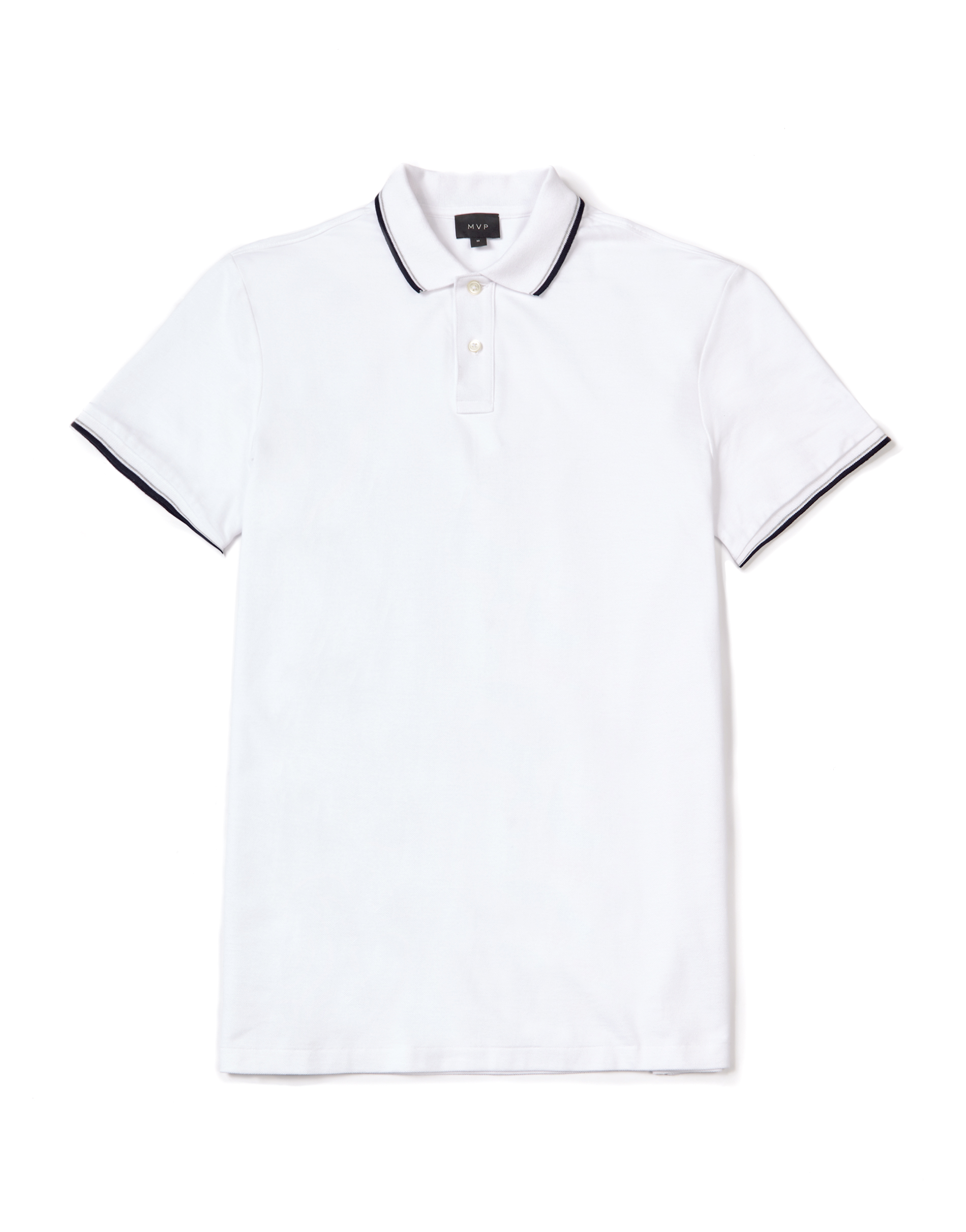 MVP WHITE Wilkes Regular Fit Polo with Contrast Tipping