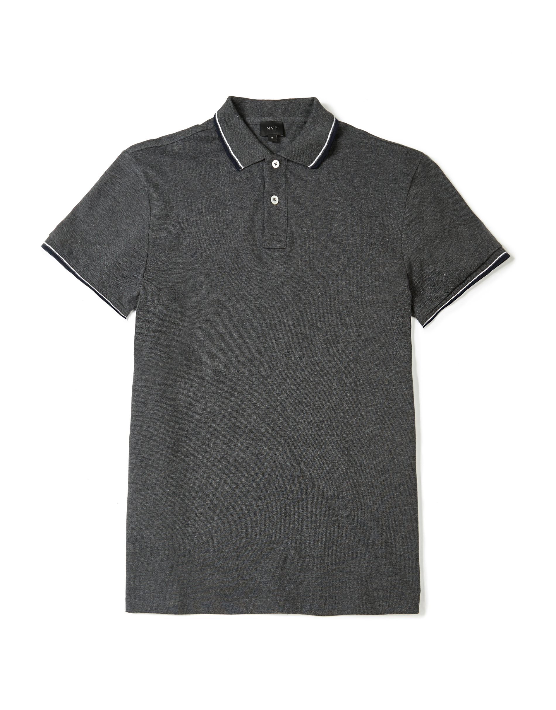 MVP CHARCOAL MELANGE Wilkes Regular Fit Polo with Contrast Tipping