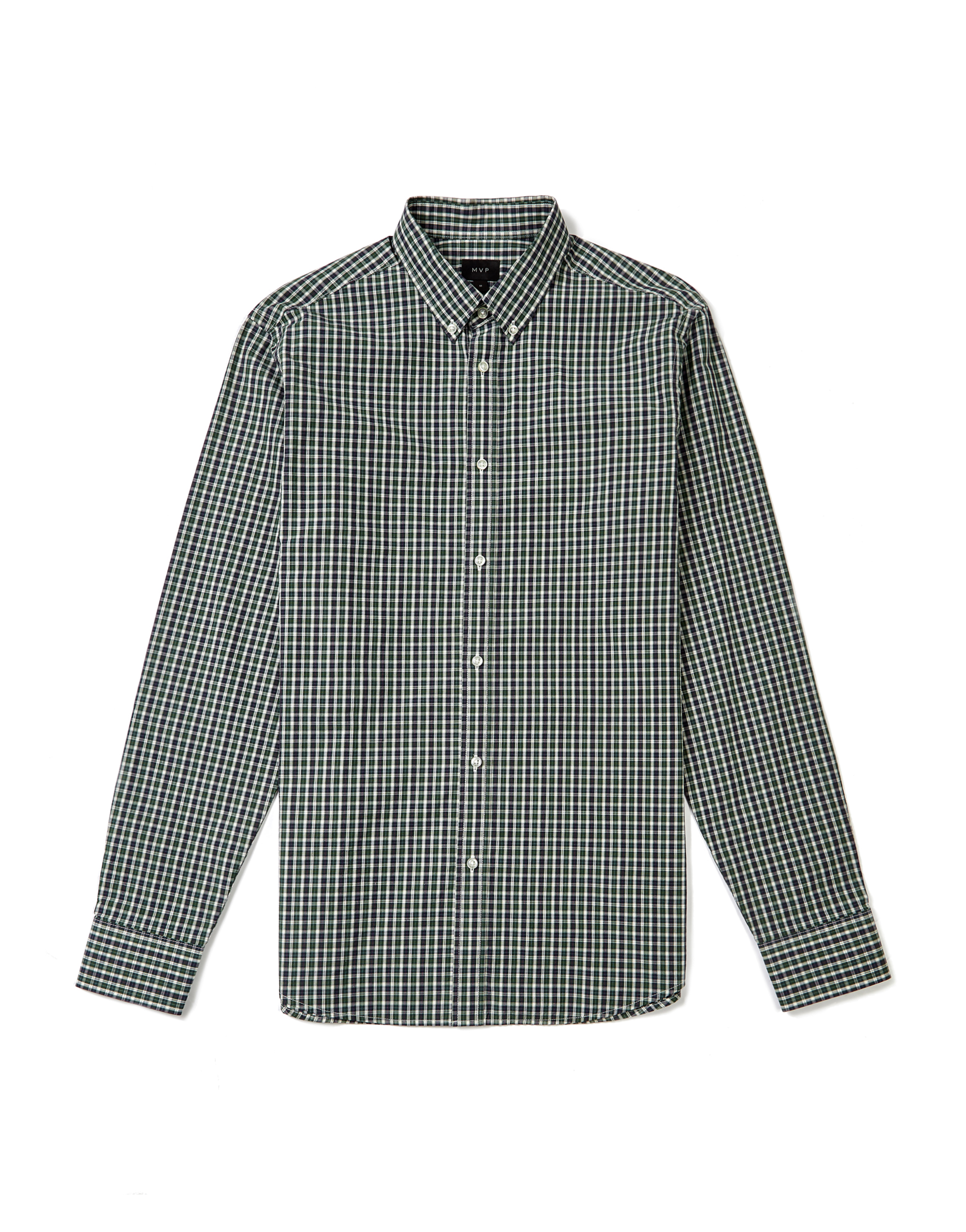 MVP GREEN Burwell Poplin Small Scale Check Shirt