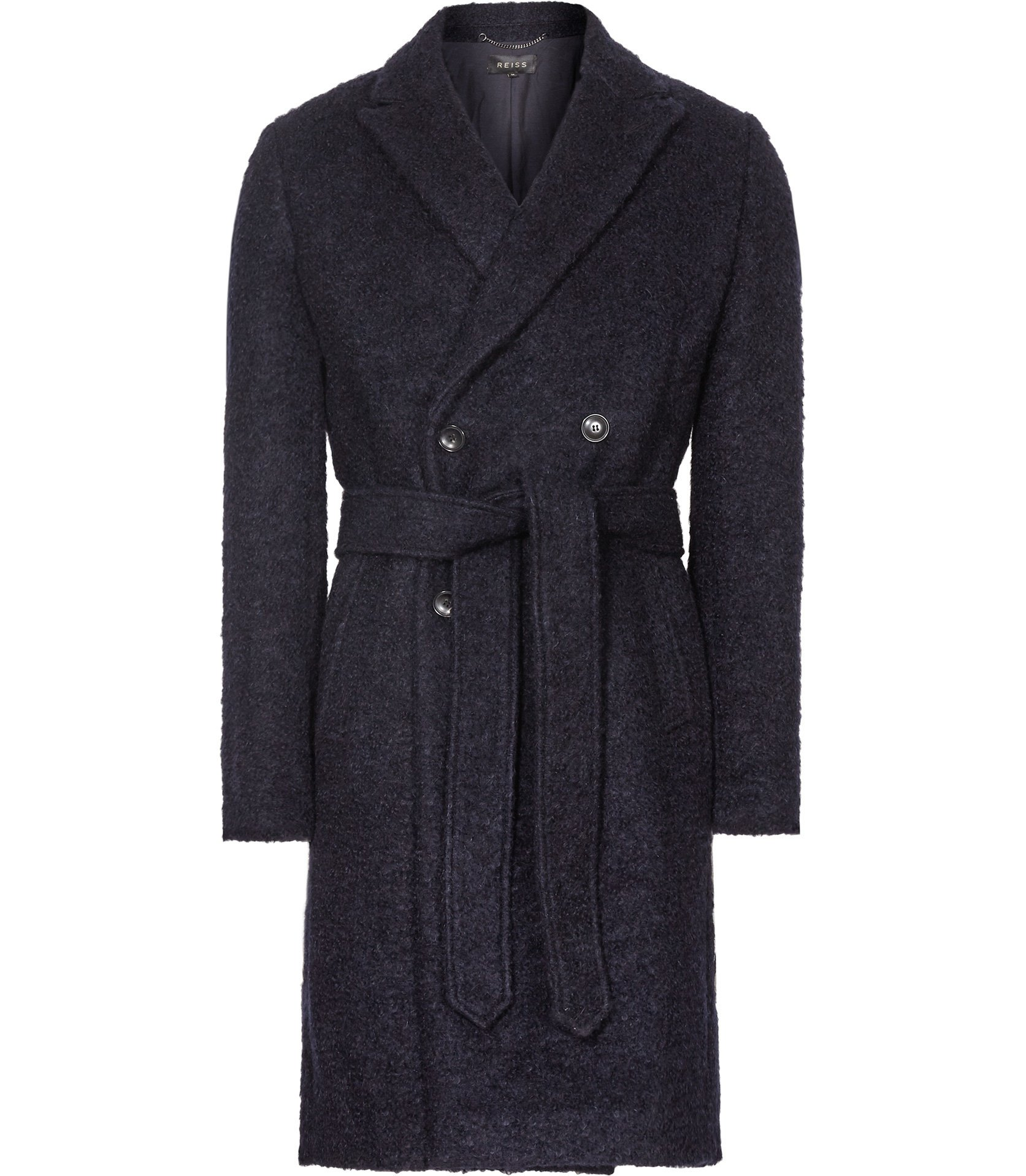 Reiss Navy Miles Double-Breasted Coat