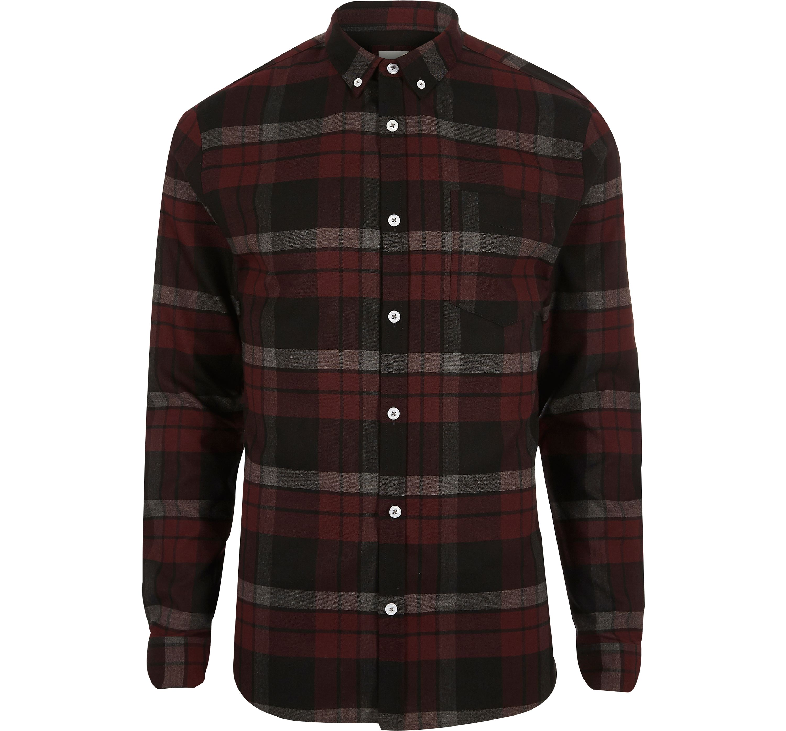 River Island Mens Dark Red check muscle fit shirt