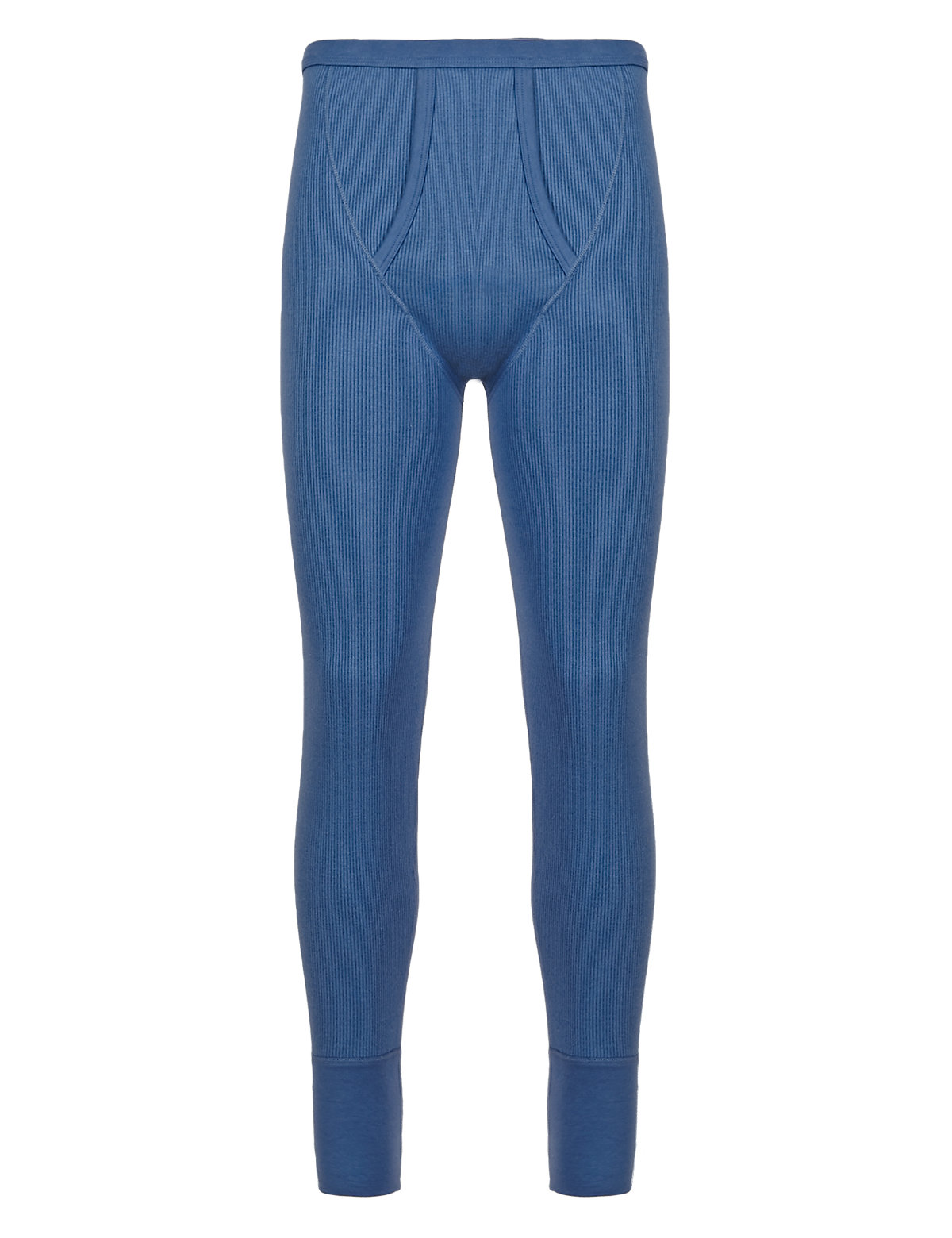 Marks & Spencer Blue Cotton Rich Thermal Long Pants