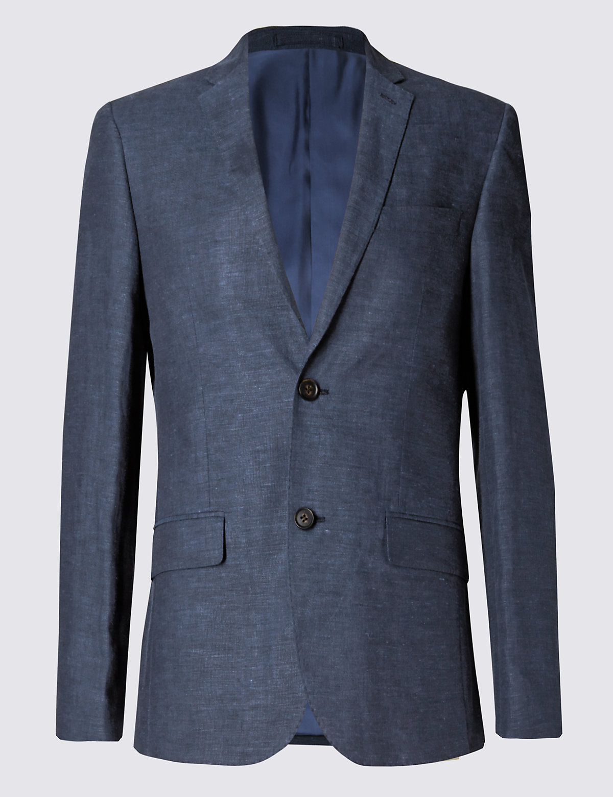 Marks & Spencer Indigo Linen Miracle™ Tailored Fit 2 Button Jacket