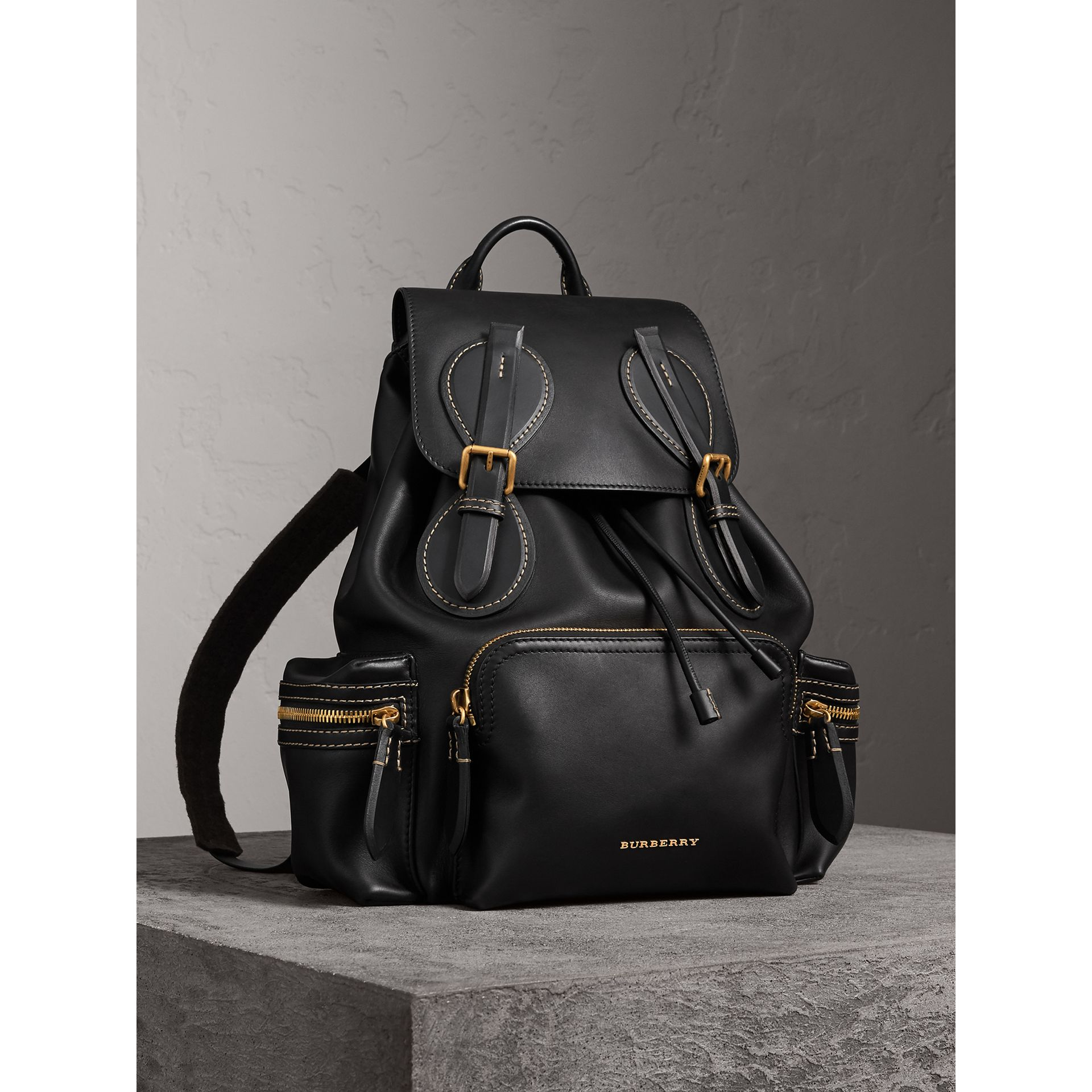 The Large Rucksack in Topstitched Leather... — Thread ceb246b28dac0