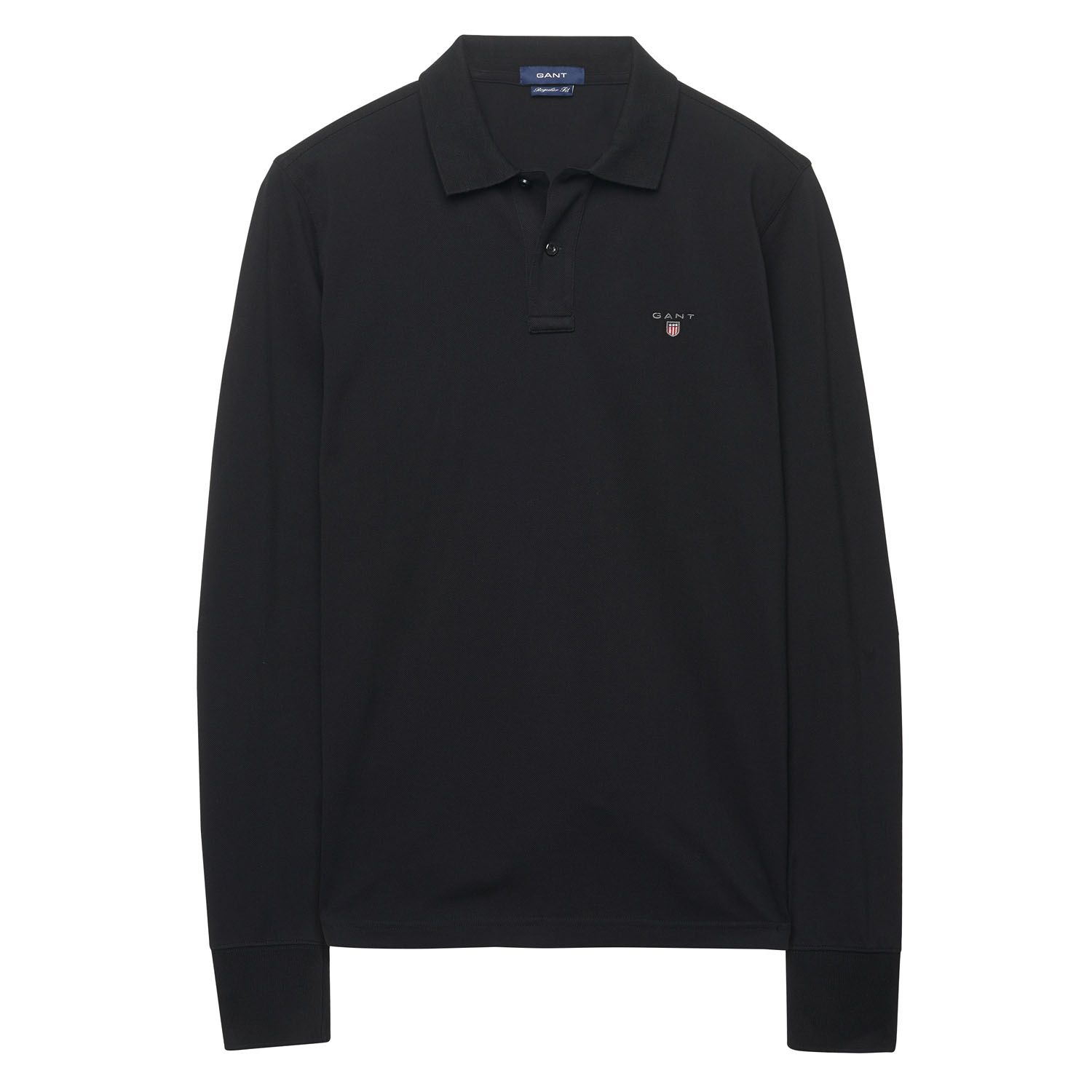 GANT Black Long Sleeved Polo Shirt