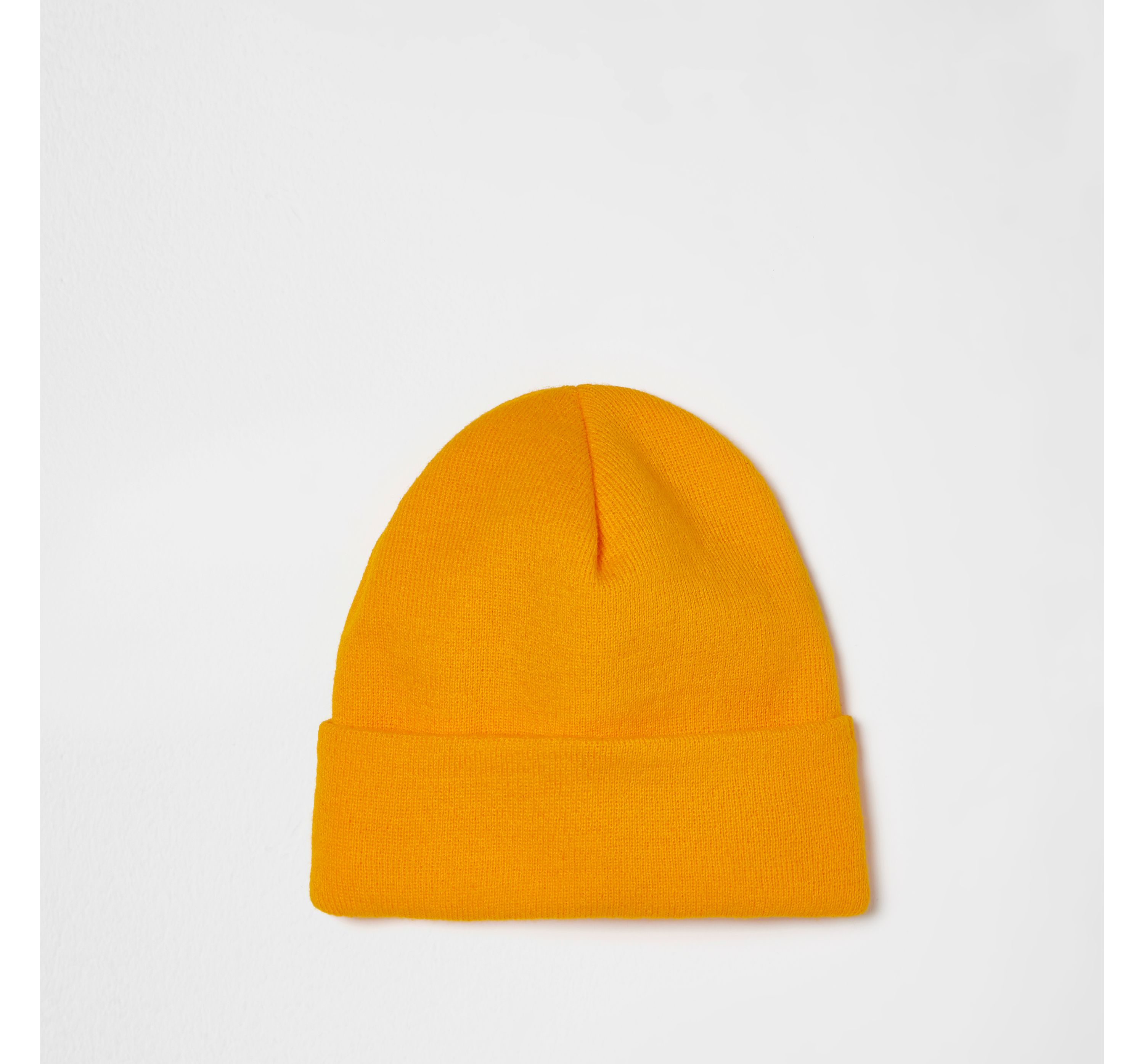 River Island Mens Yellow knitted beanie hat