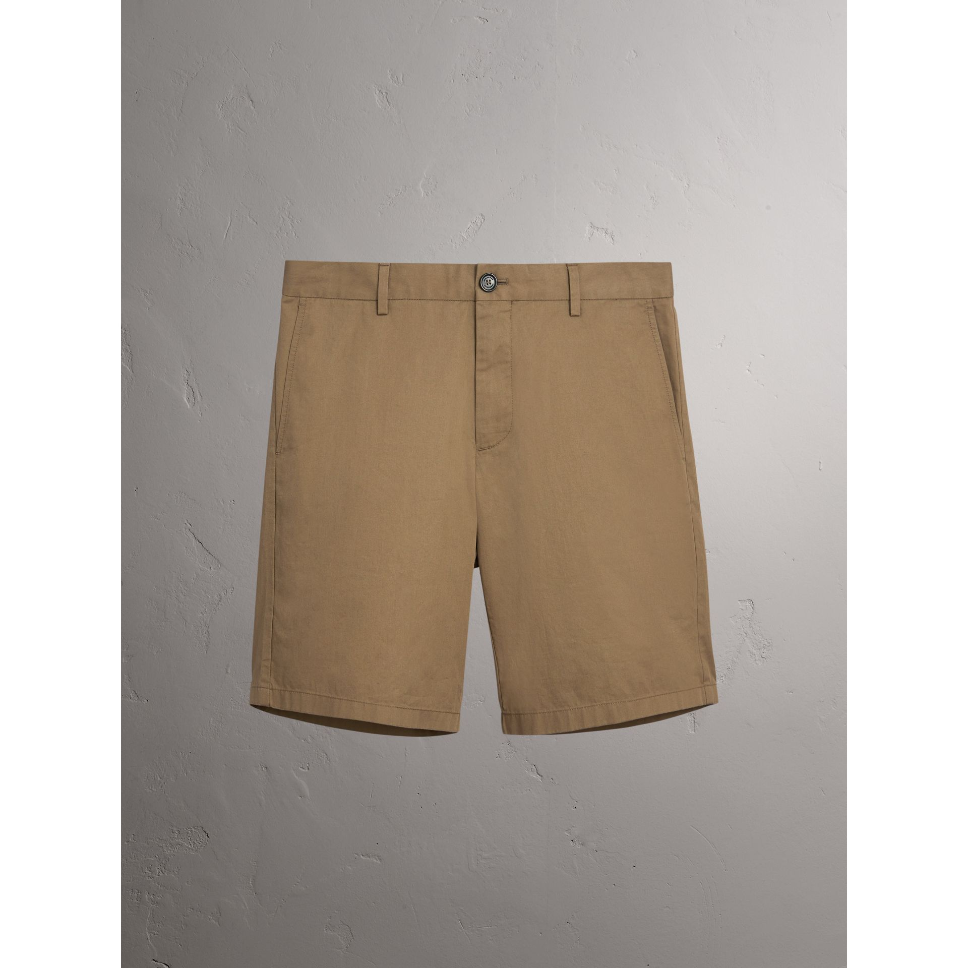 Burberry Olive Green Cotton Twill Chino Shorts