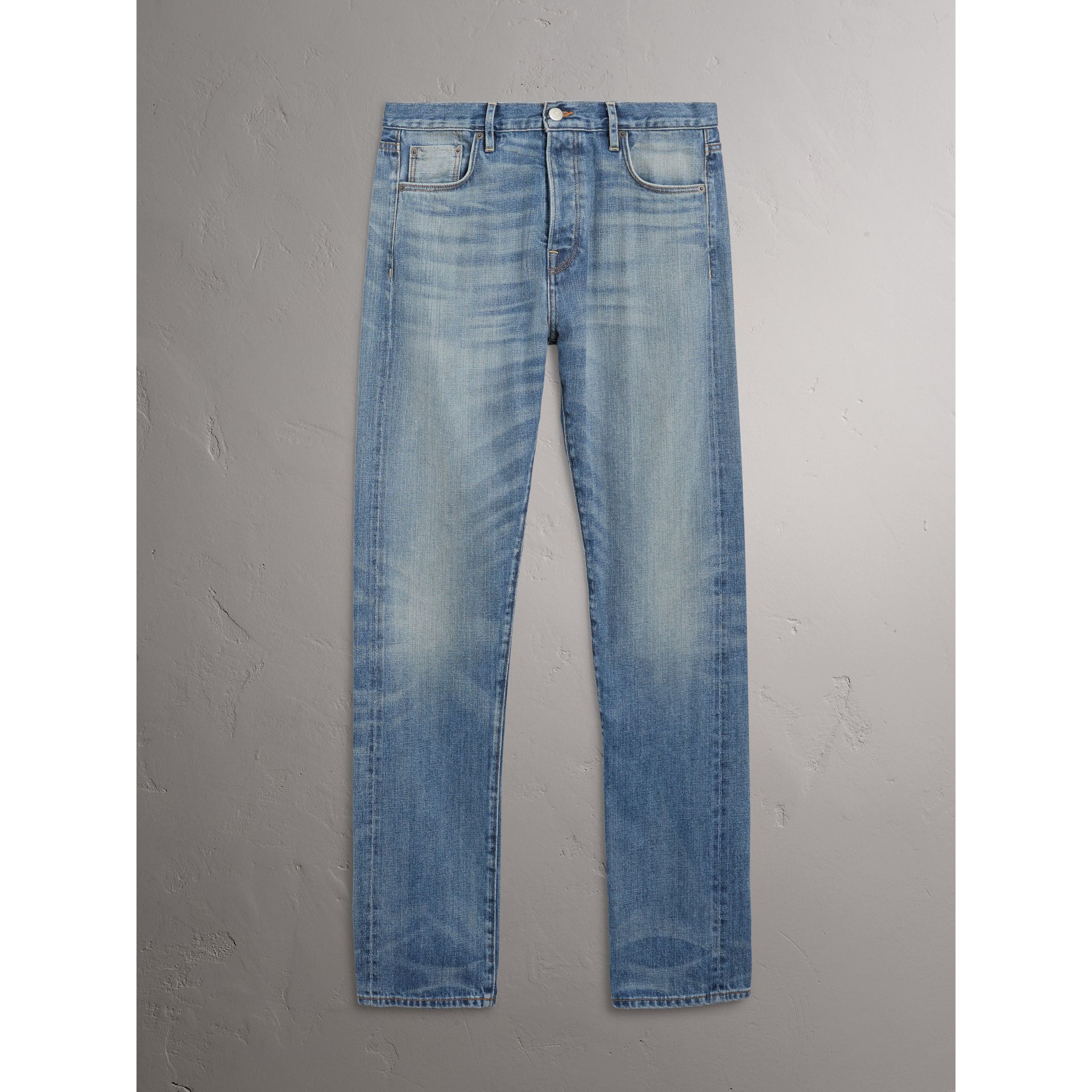 Burberry Light Indigo Relaxed Fit Washed Japanese Selvedge Denim Jeans