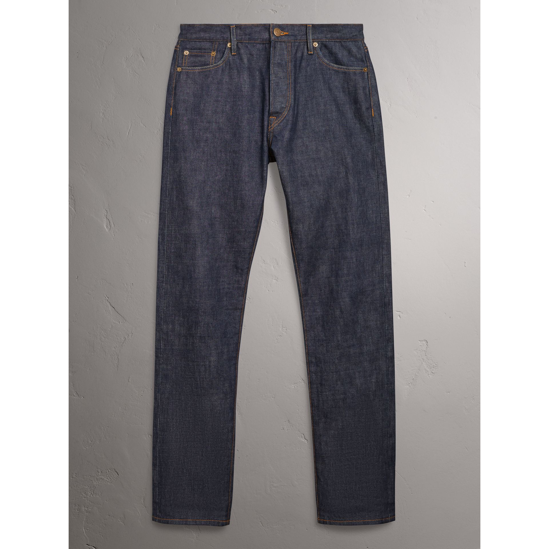 Burberry Mid Indigo Blue Relaxed Fit Japanese Selvedge Denim Jeans