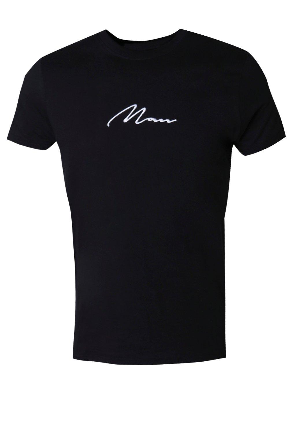 boohooMAN black MAN Signature Embroidered T-Shirt
