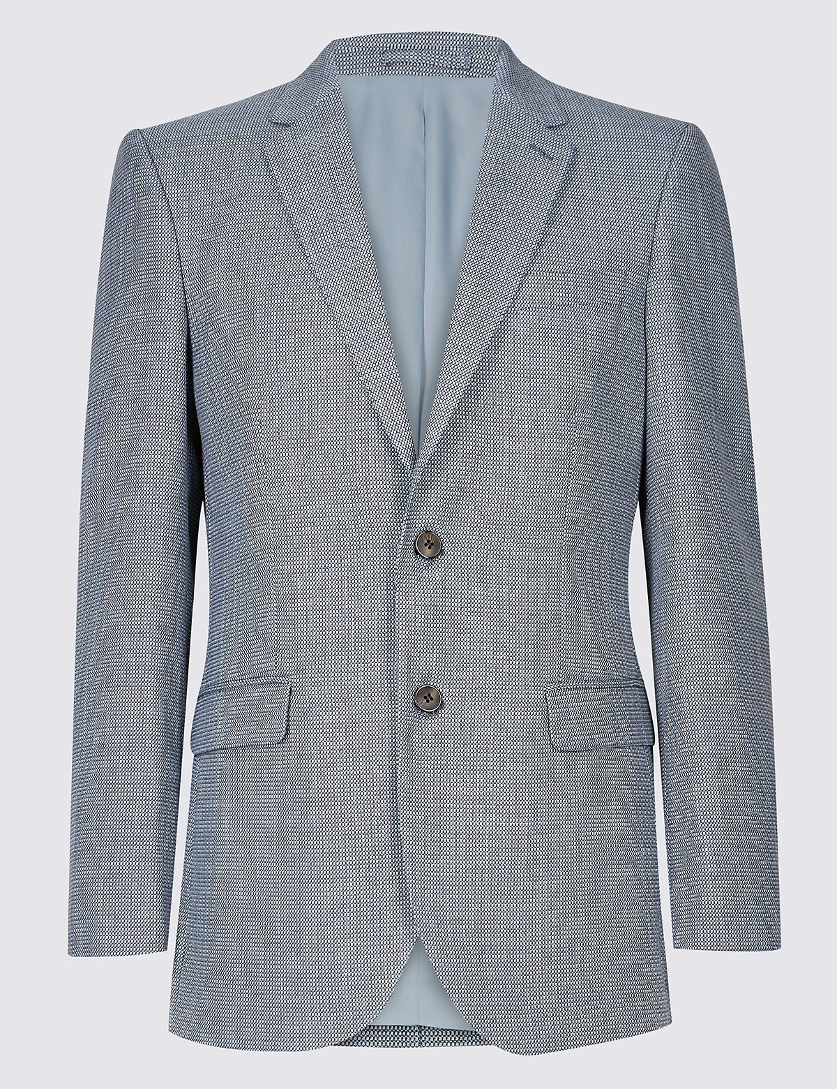 Marks & Spencer Blue Textured 2 Button Jacket