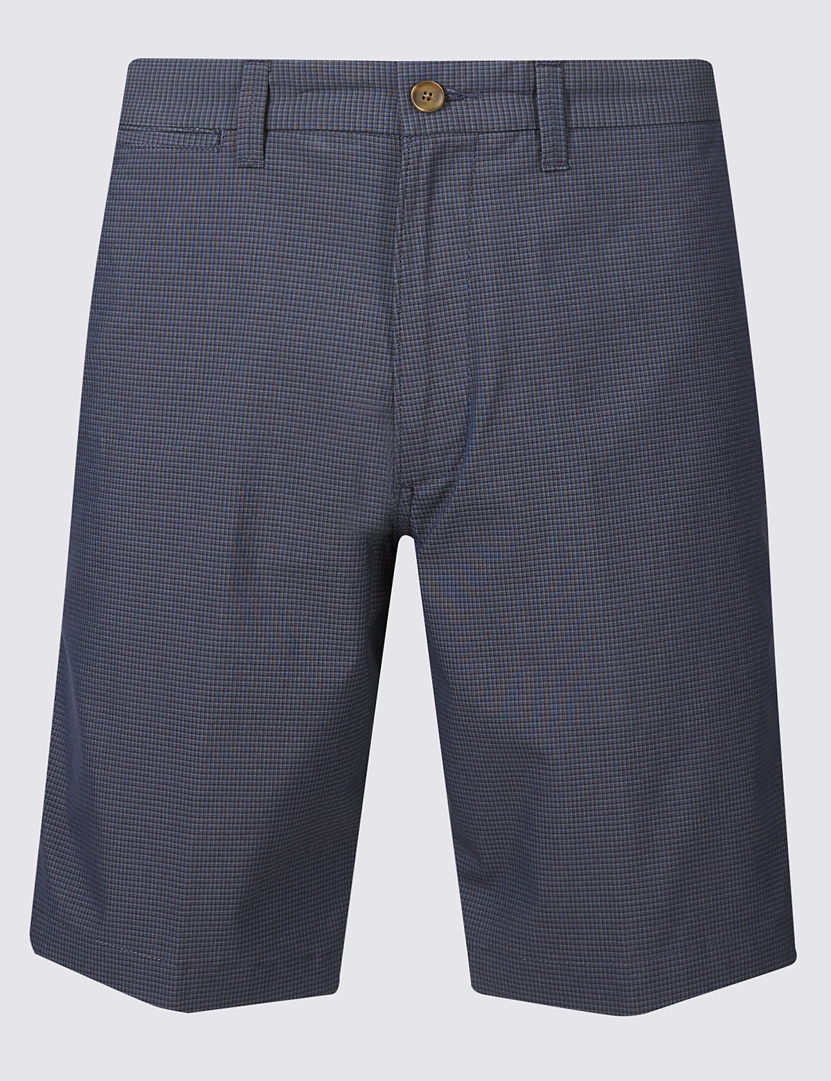 Marks & Spencer Navy Mix Cotton Rich Checked Chino Shorts with Stretch