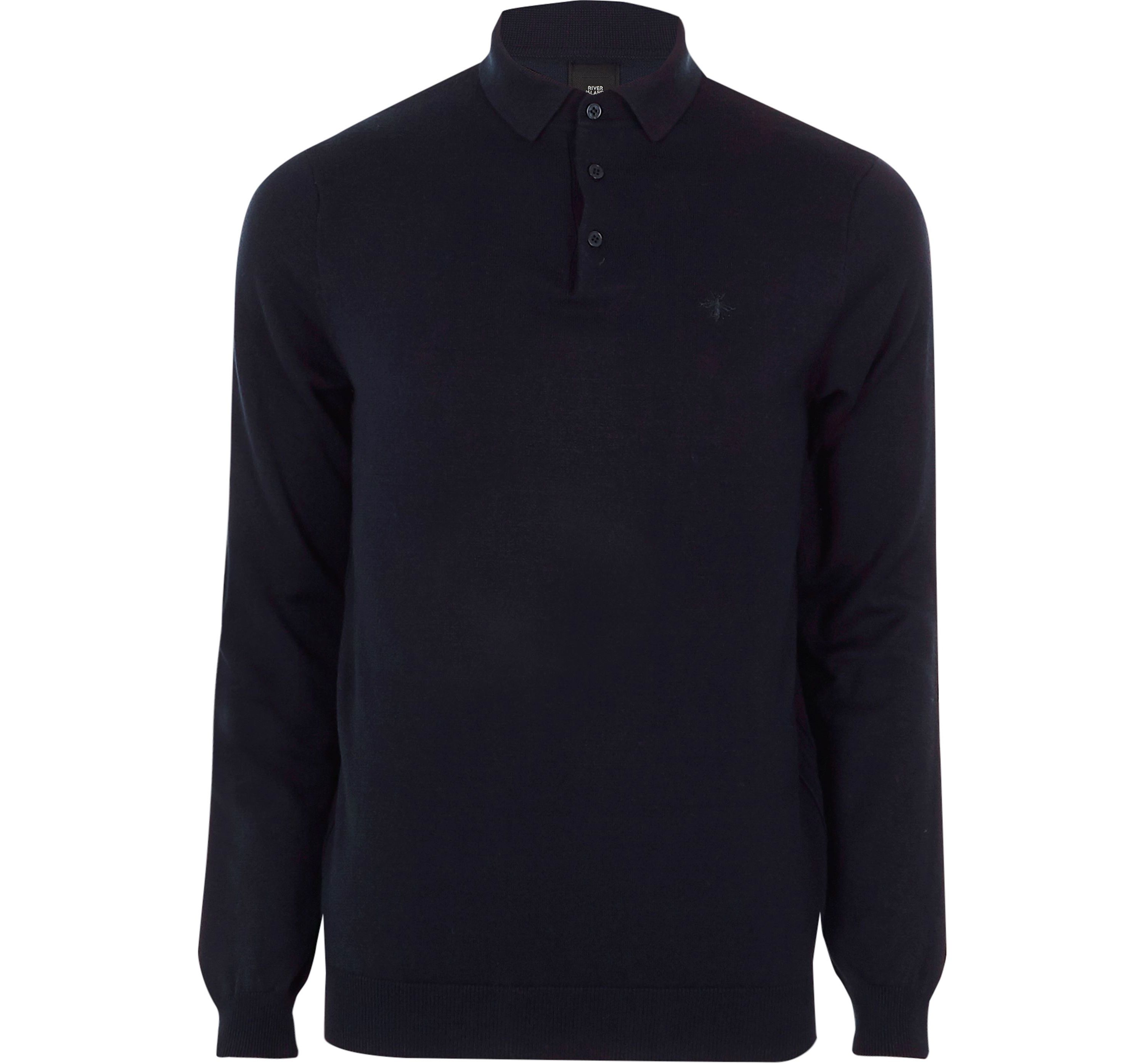 River Island Mens Navy slim fit long sleeve knitted polo shirt