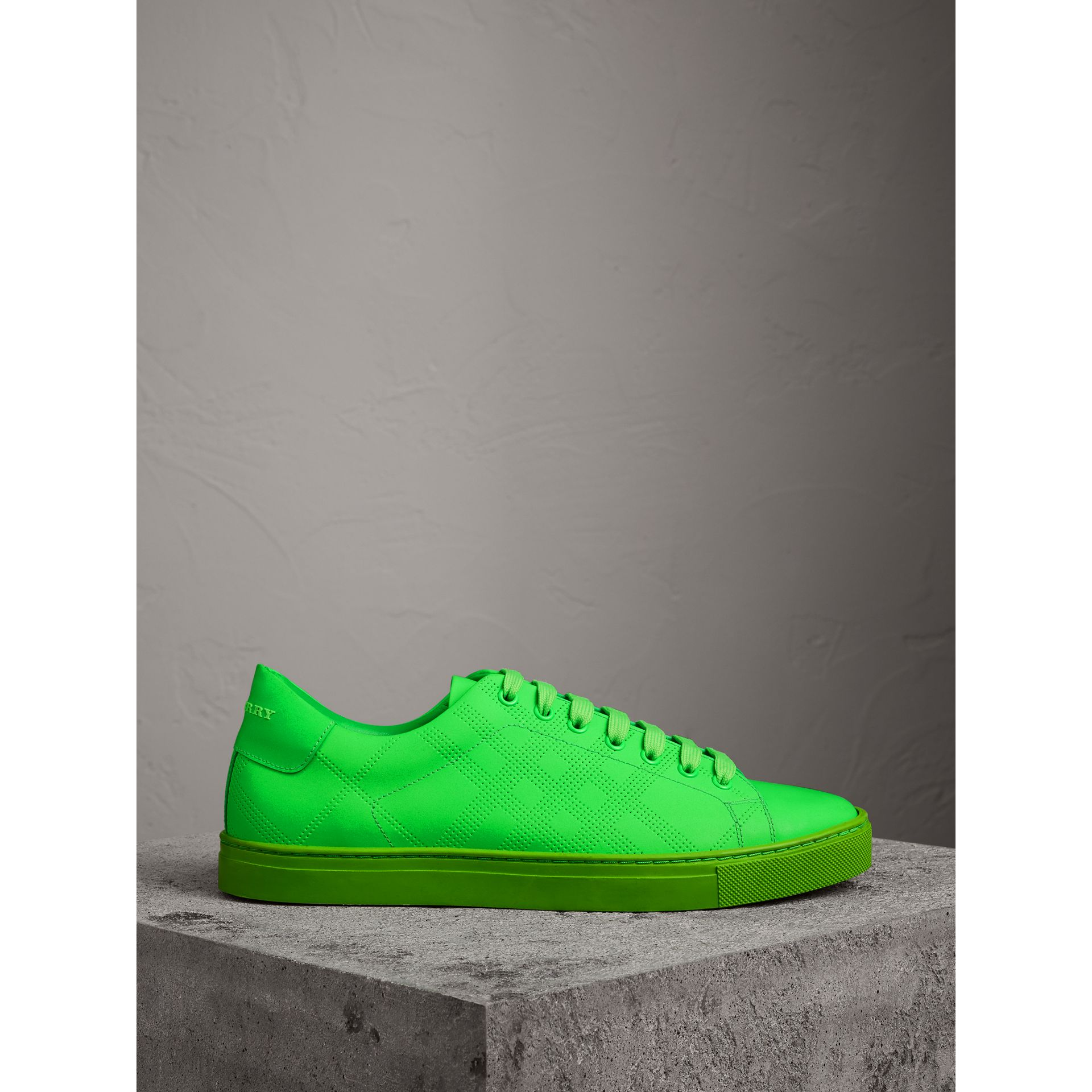 Burberry Neon Green Perforated Check Leather Trainers