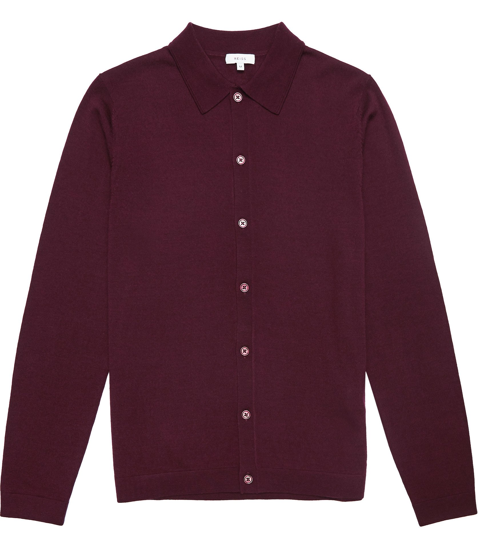 Reiss Bordeaux Merino Wool Polo Shirt