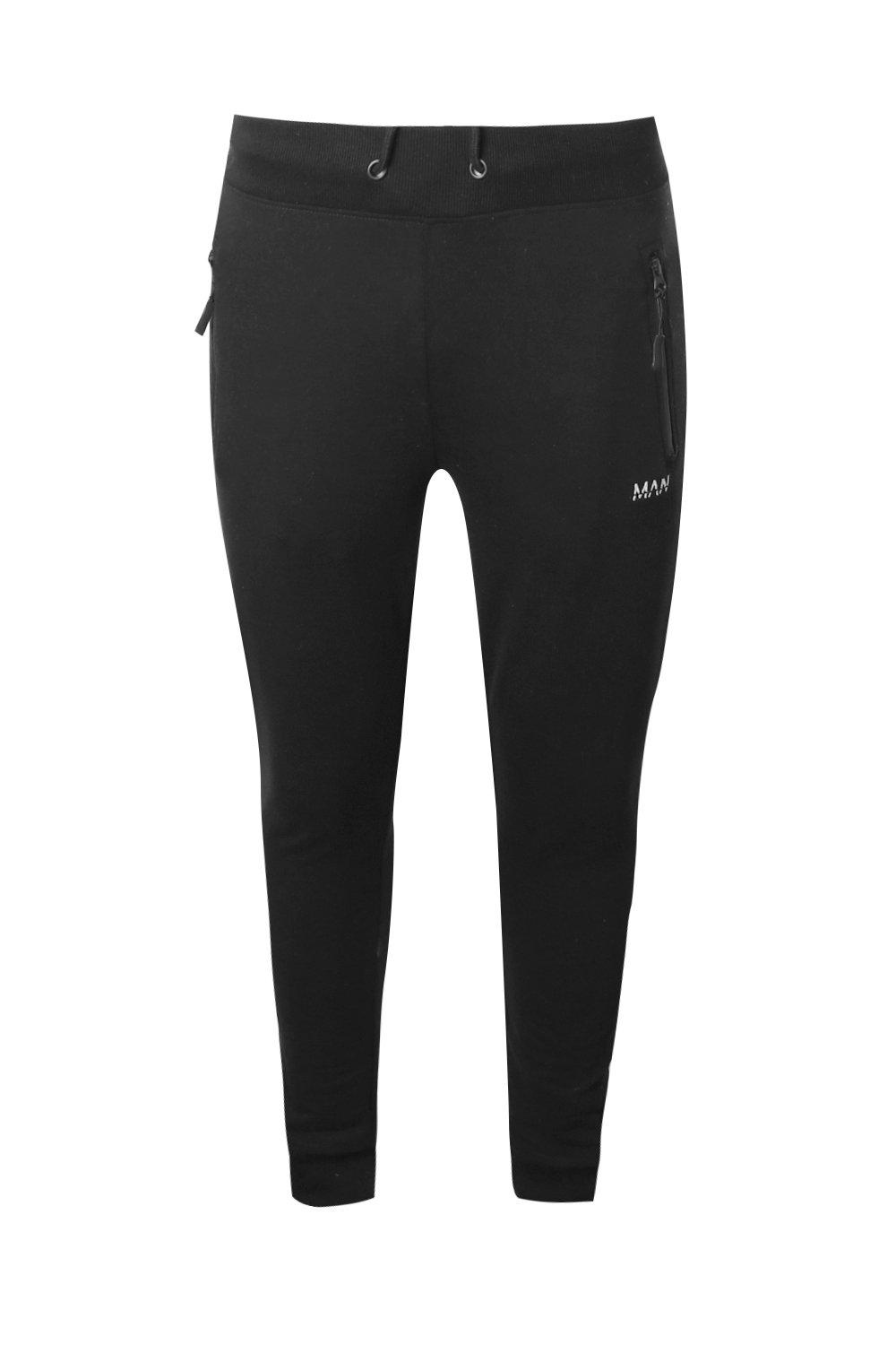 boohooMAN black Skinny Fit Active Gym Joggers With Zip Pockets