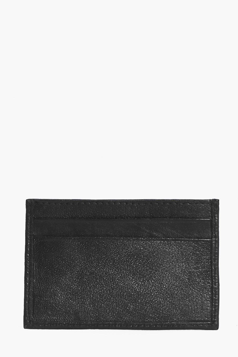 boohooMAN black Real Leather Card Holder