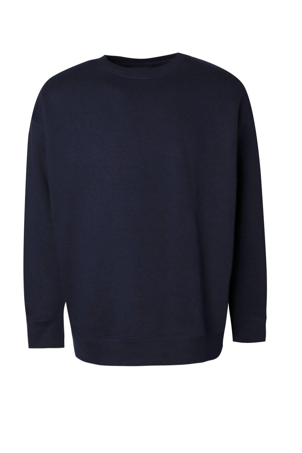 boohooMAN navy Fleece Oversized Sweatshirt