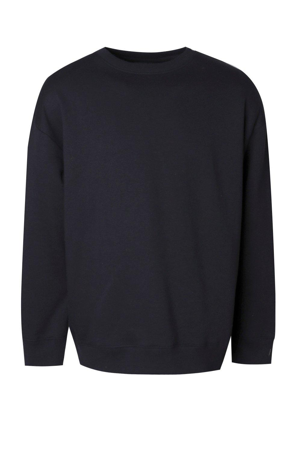 boohooMAN black Fleece Oversized Sweatshirt