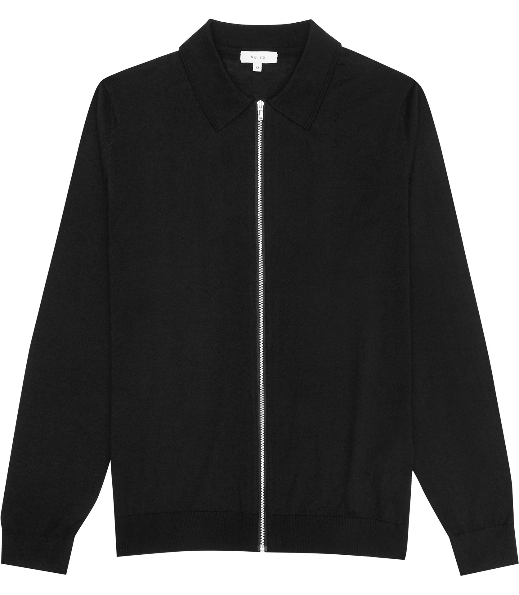 Reiss Black Zip-Through Cardigan