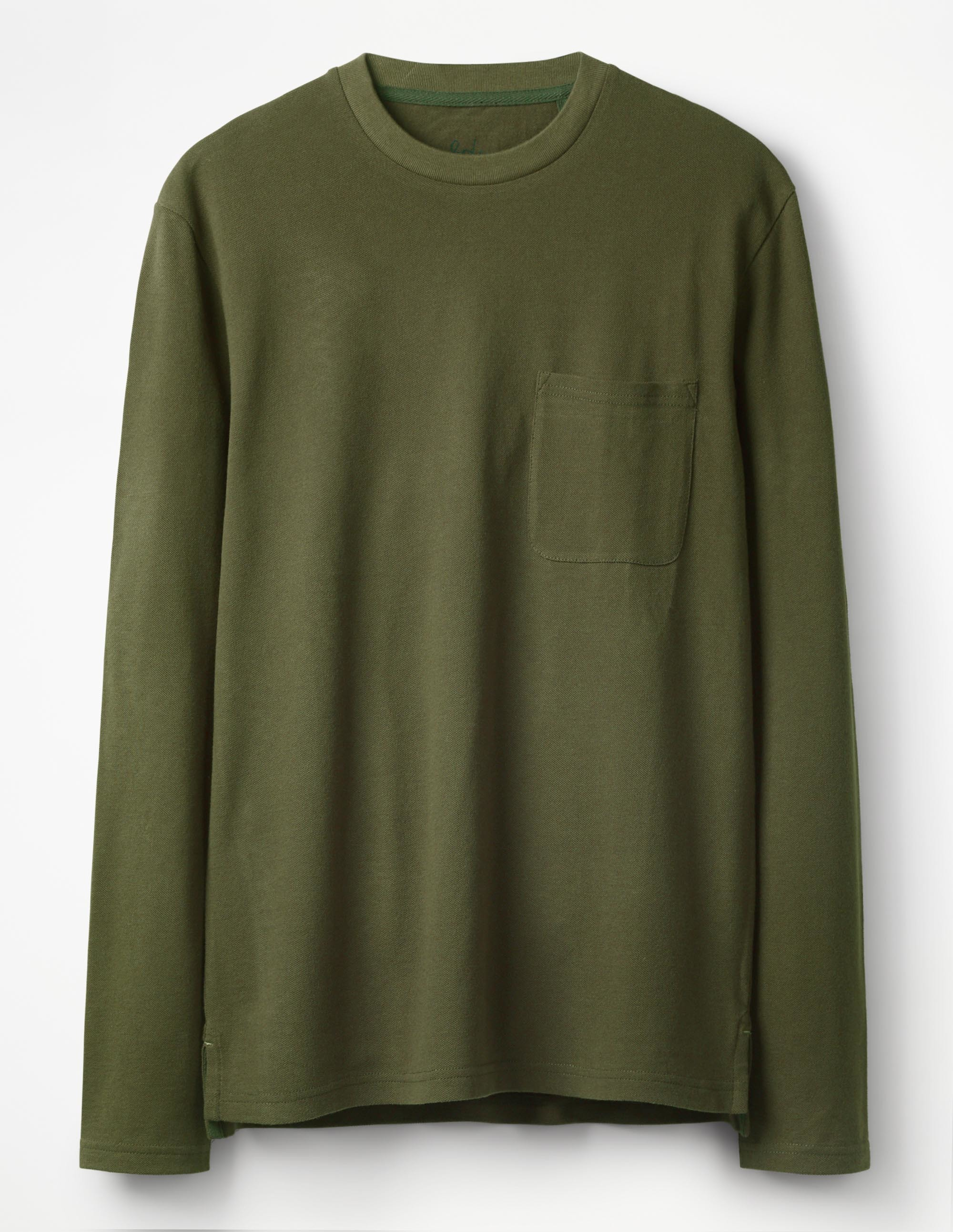 Boden Pine Green Long Sleeve Piqué Crew