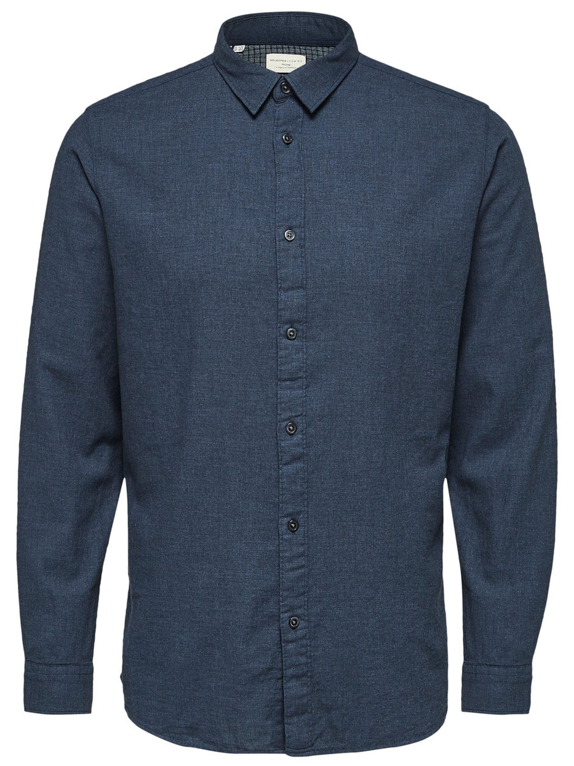 Selected DARK NAVY Long Sleeve Cotton Shirt