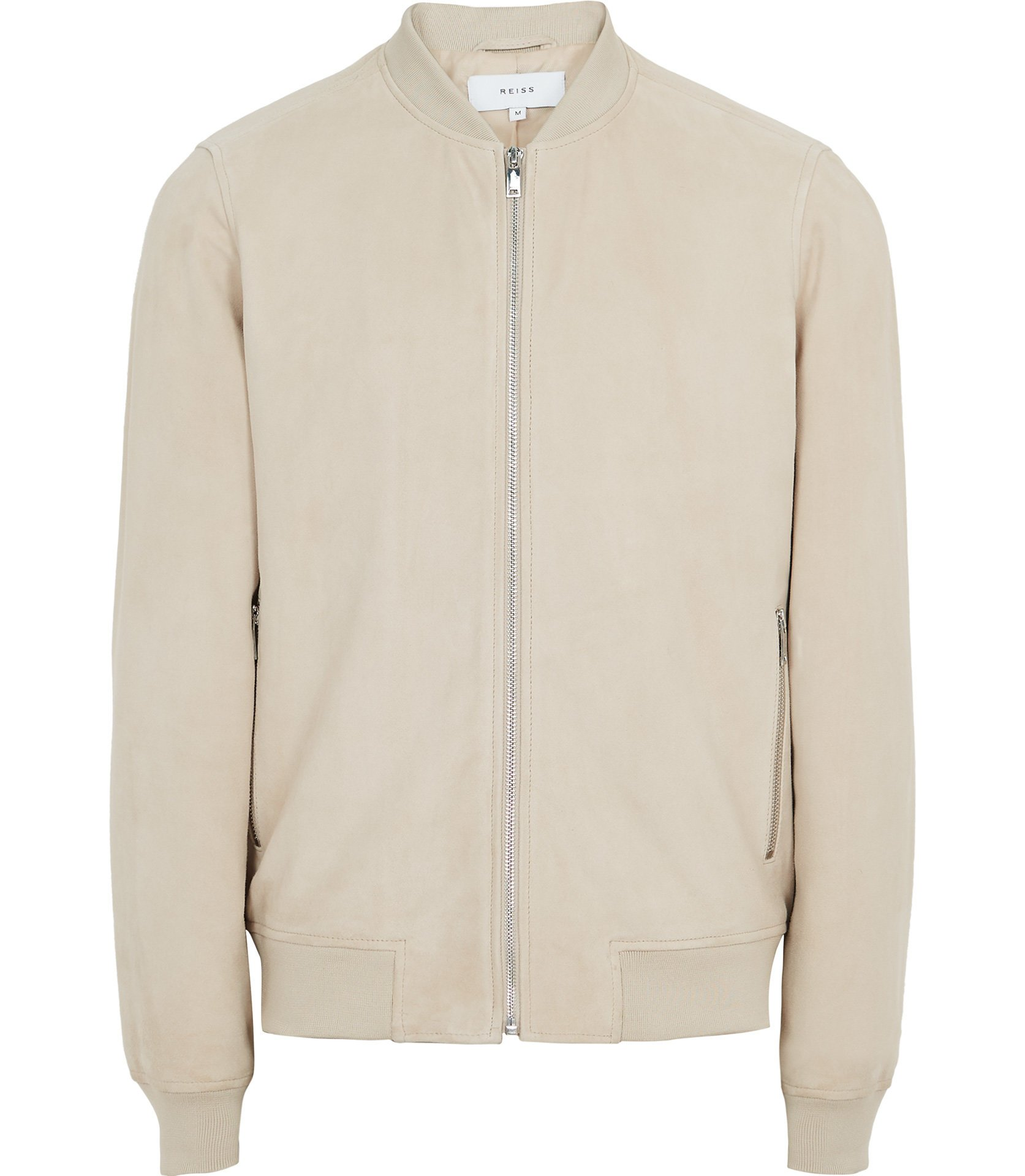 Reiss Stone Suede Bomber Jacket