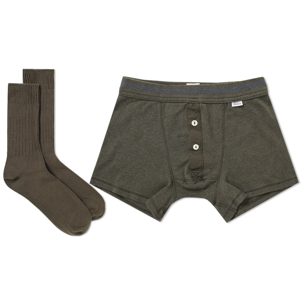 Schiesser Olive & Grey Boxer Short and Sock Pack