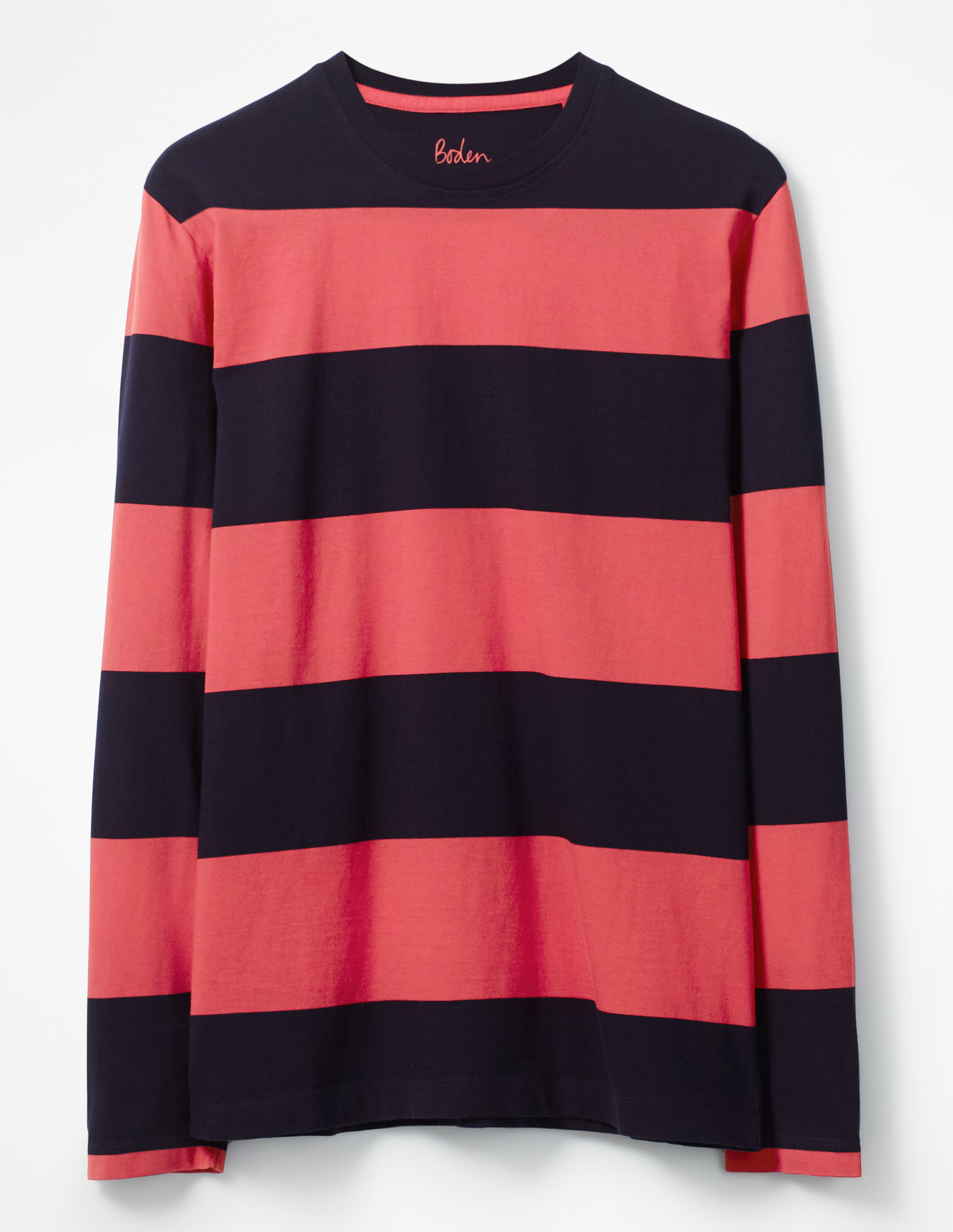 Boden Navy/Washed Crimson Stripe Long Sleeve Stripe T-shirt