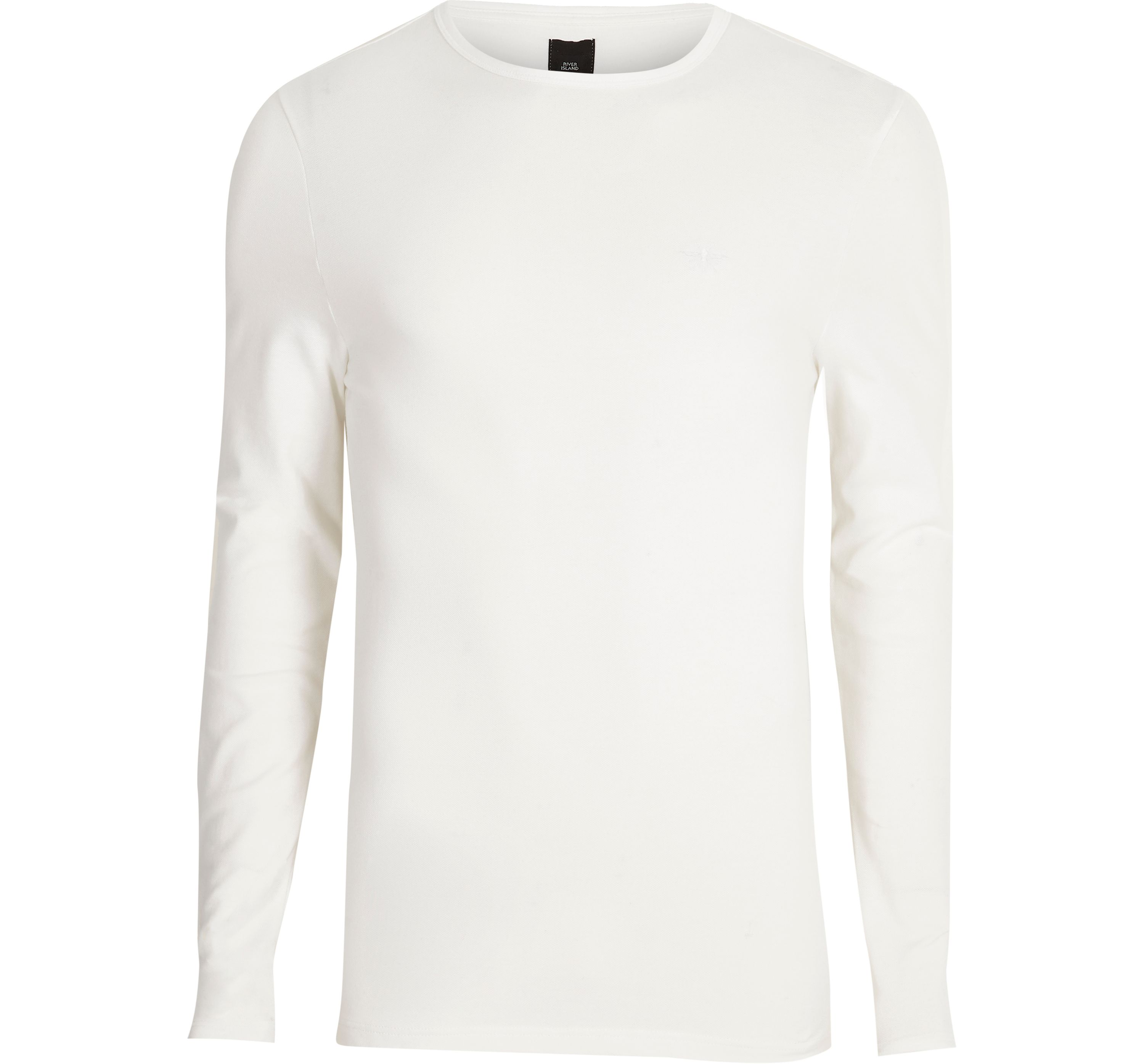 River Island Mens White pique long sleeve muscle fit T-shirt