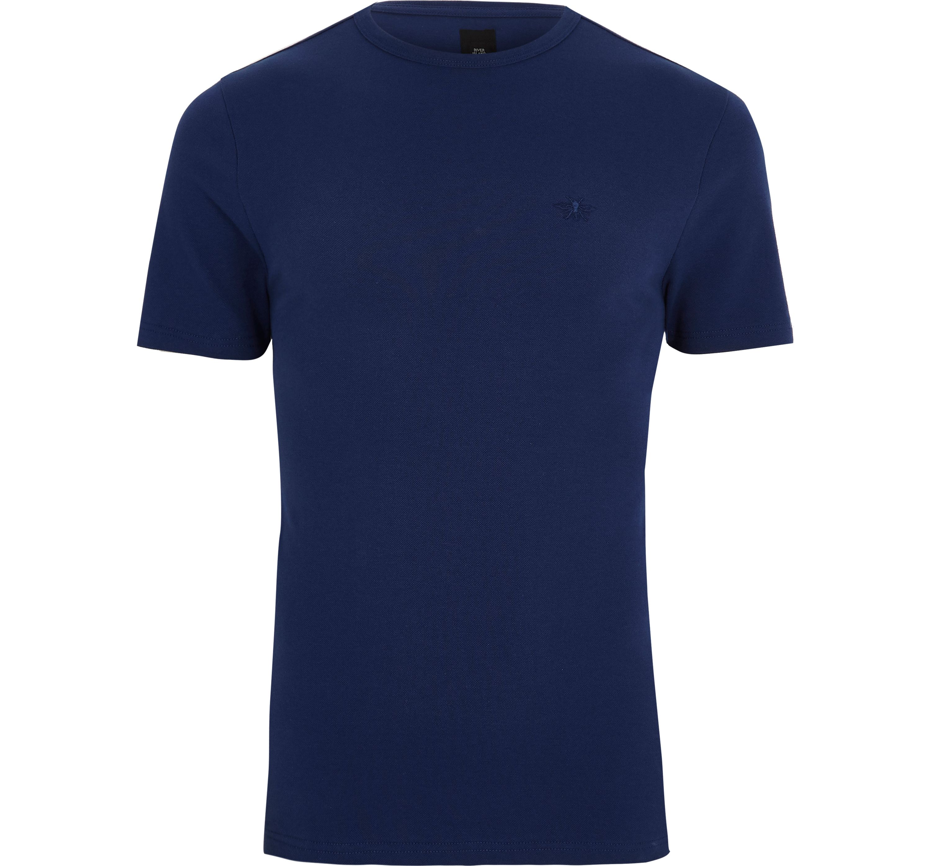 River Island Mens Navy pique muscle fit T-shirt