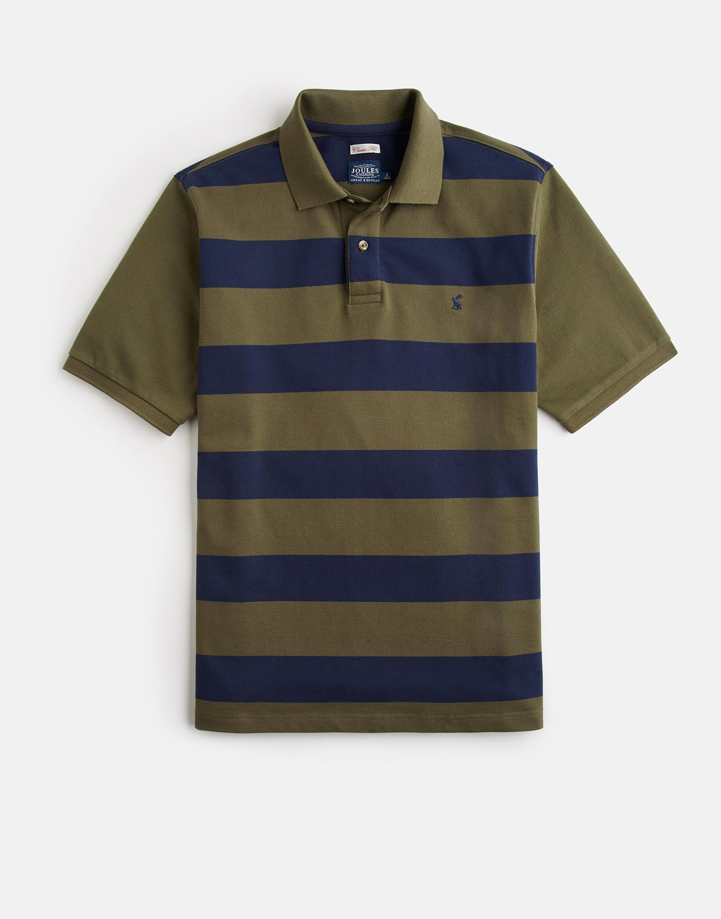 Joules Dark Olive Stripe FILBERT Classic Fit Striped Polo Shirt