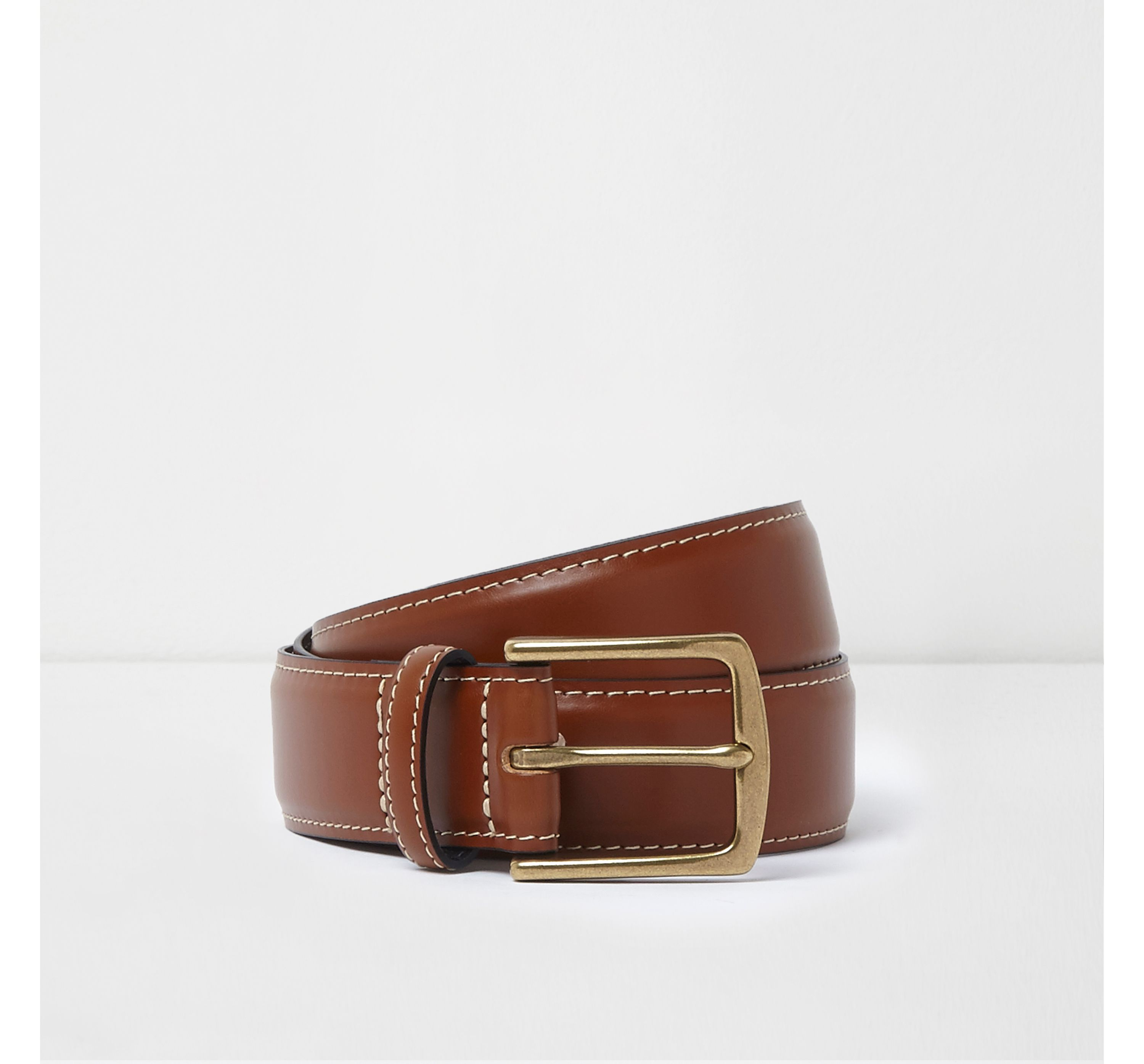 River Island Mens Tan brown leather buckle belt