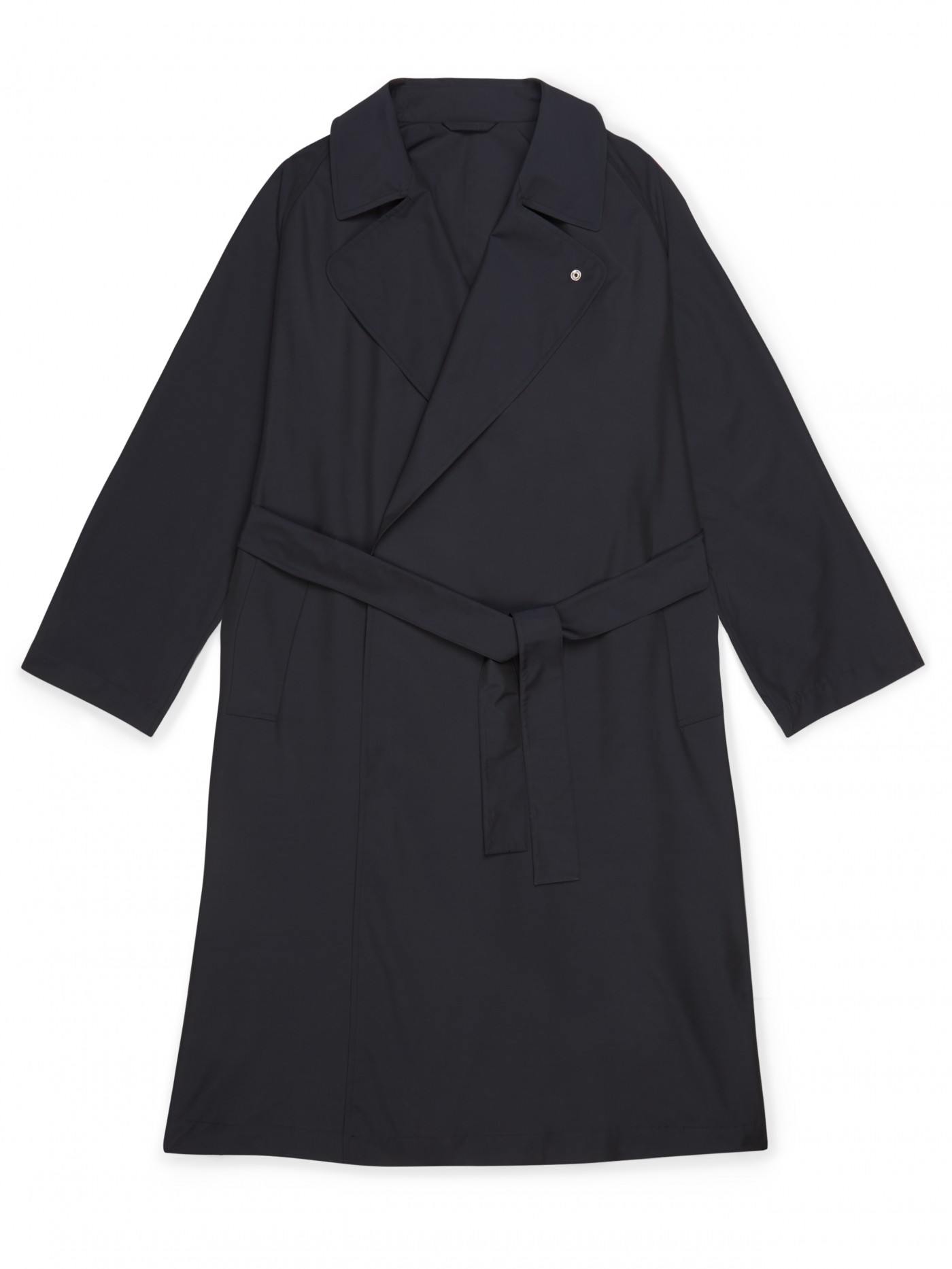 E. Tautz Navy Double Breasted Trench Coat