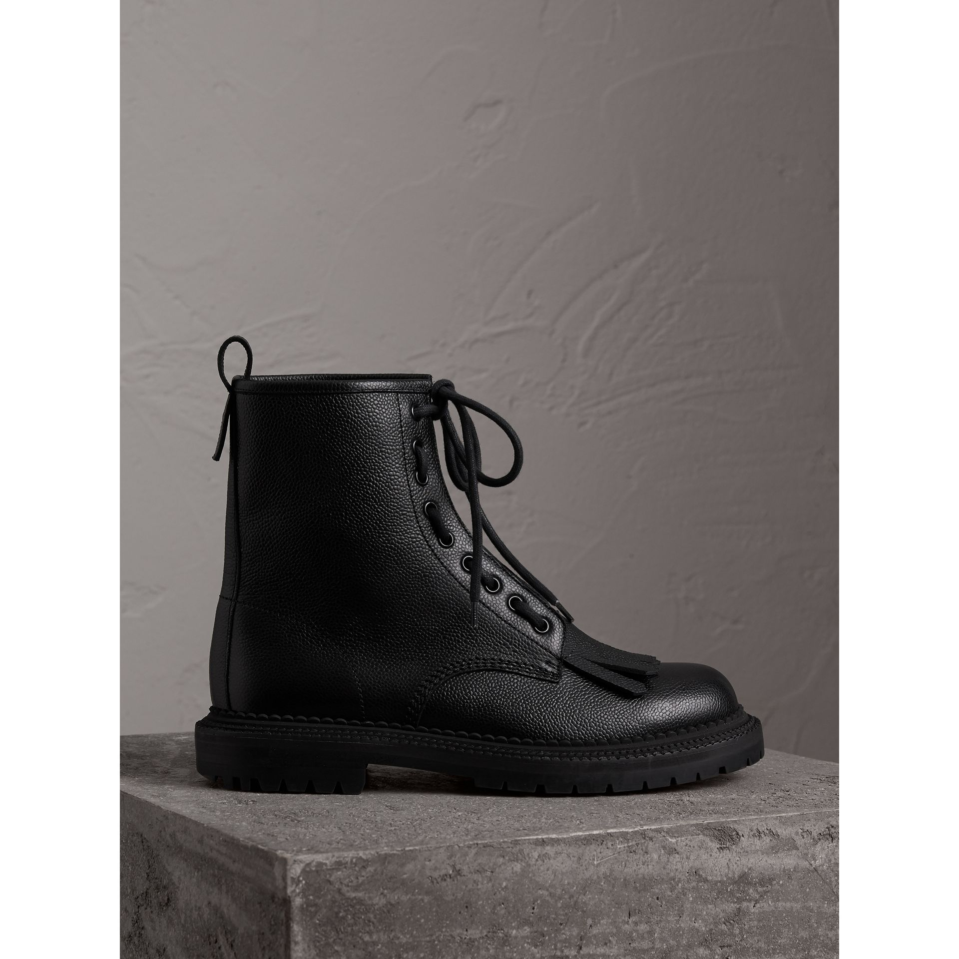 Burberry Black Fringe Detail Grainy Leather Zip-front Boots