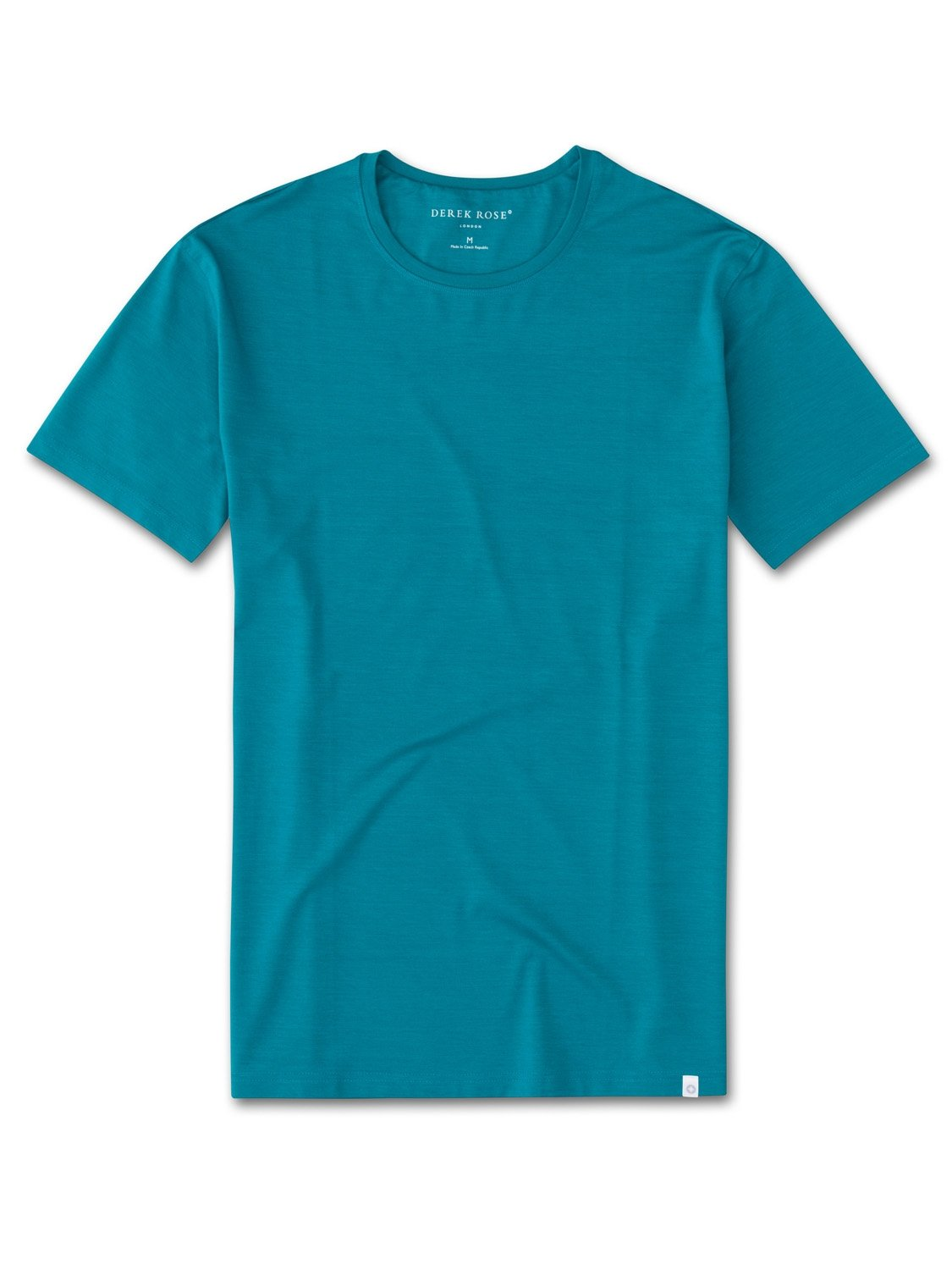 Derek Rose Men's Short Sleeve T-Shirt — Basel 4 Micro Modal Stretch Teal