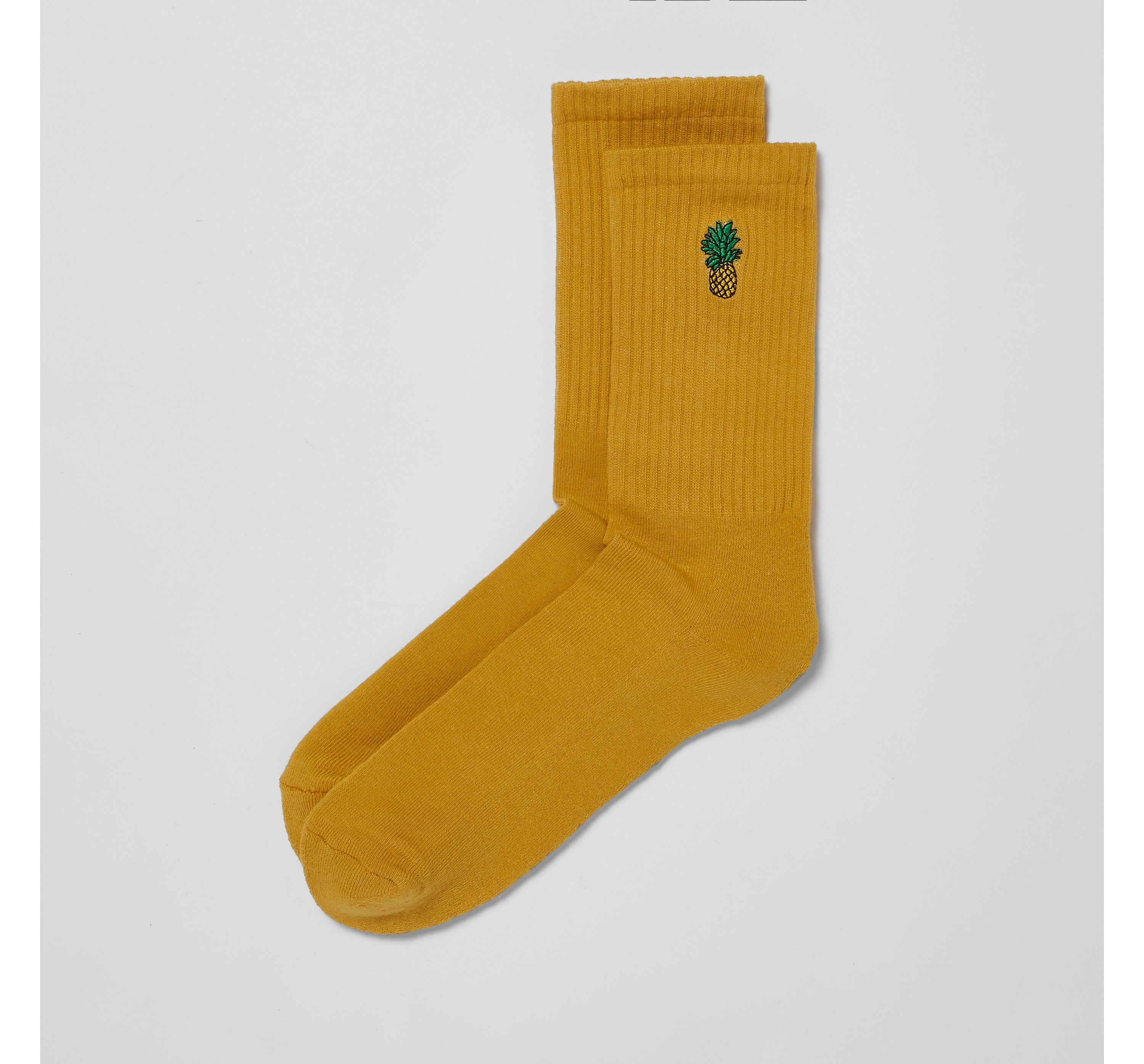 River Island Mens Yellow pineapple embroidered socks