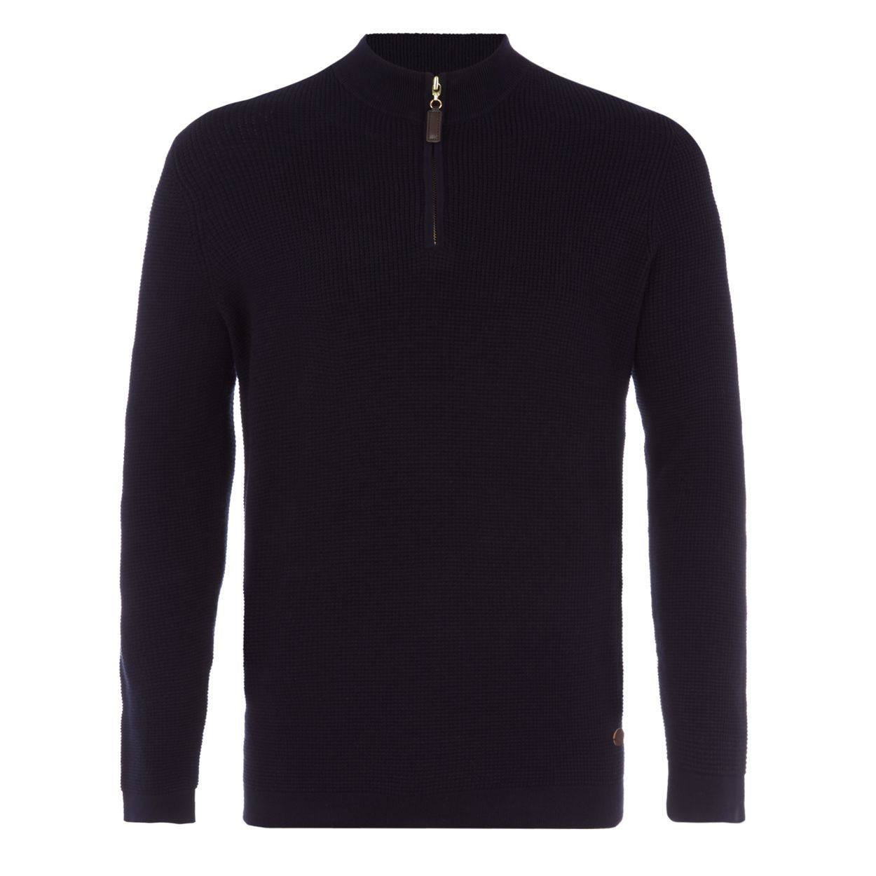 Hammond & Co. by Patrick Grant Navy waffle knit zip neck sweater
