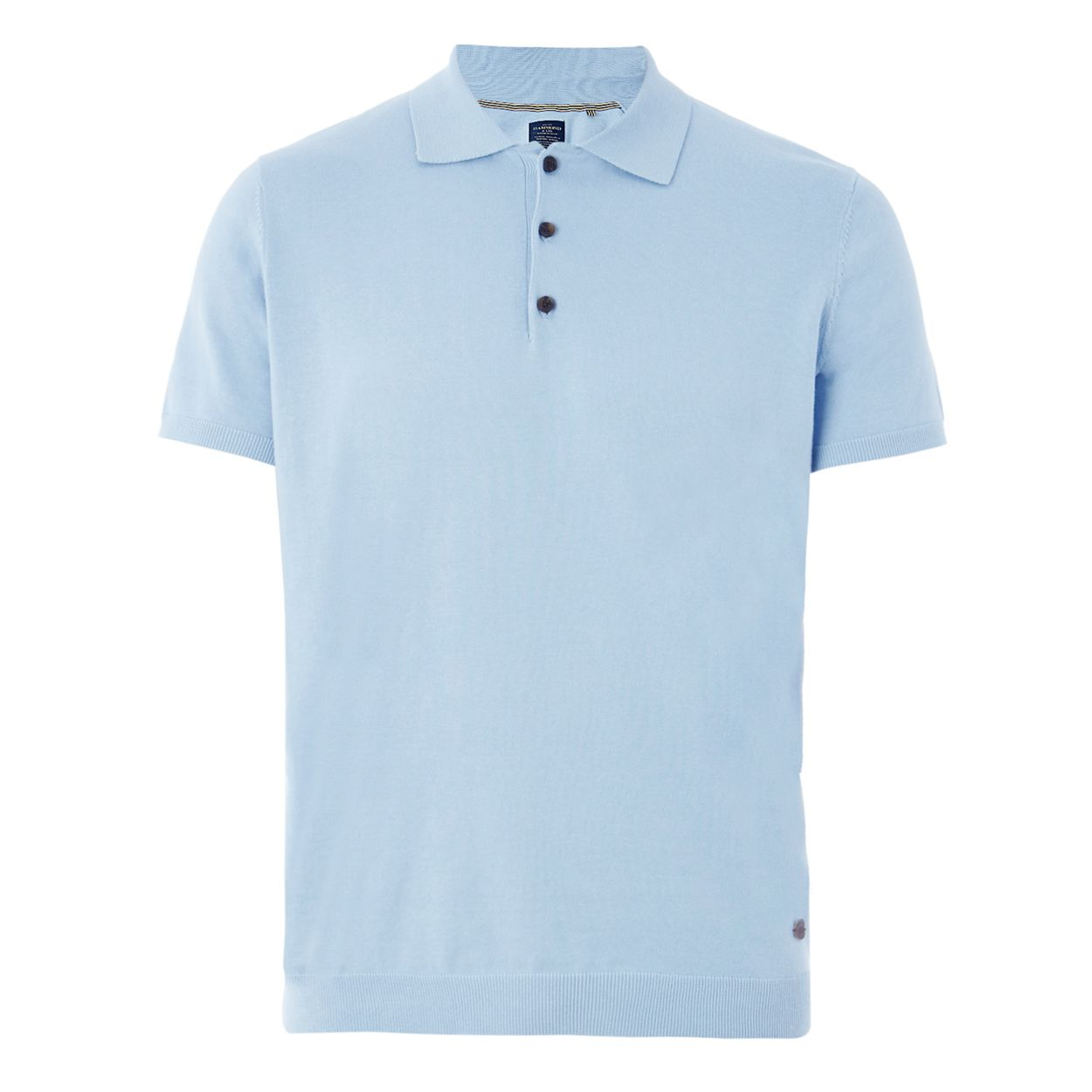 Hammond & Co. by Patrick Grant Light blue knitted polo shirt