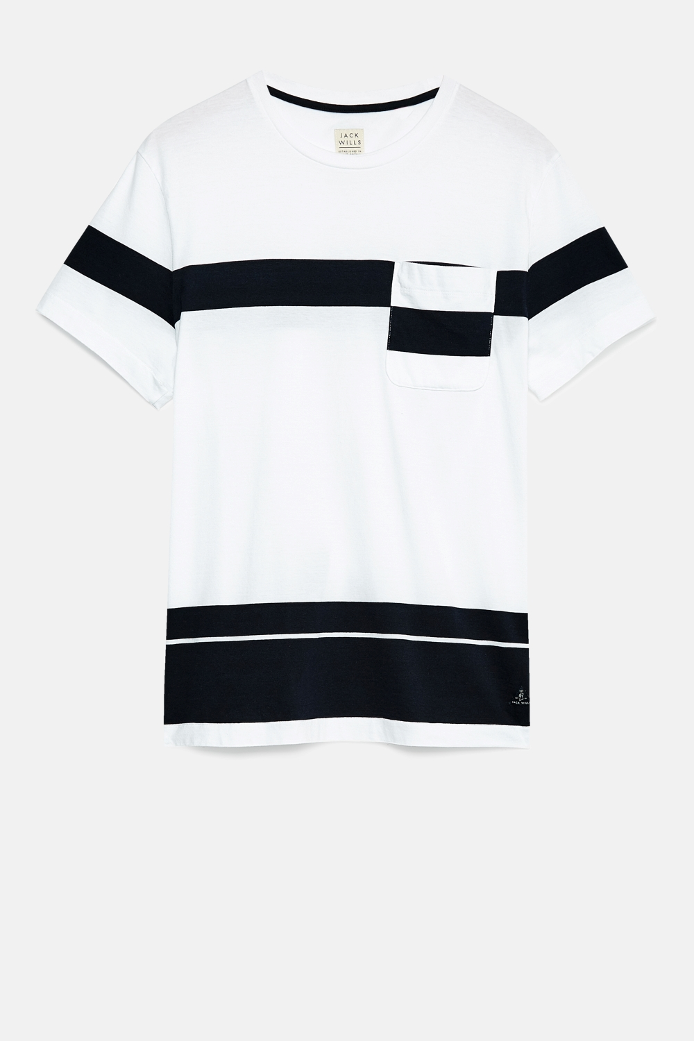 Jack Wills White SOUTHWAY PLACED STRIPE T-SHIRT